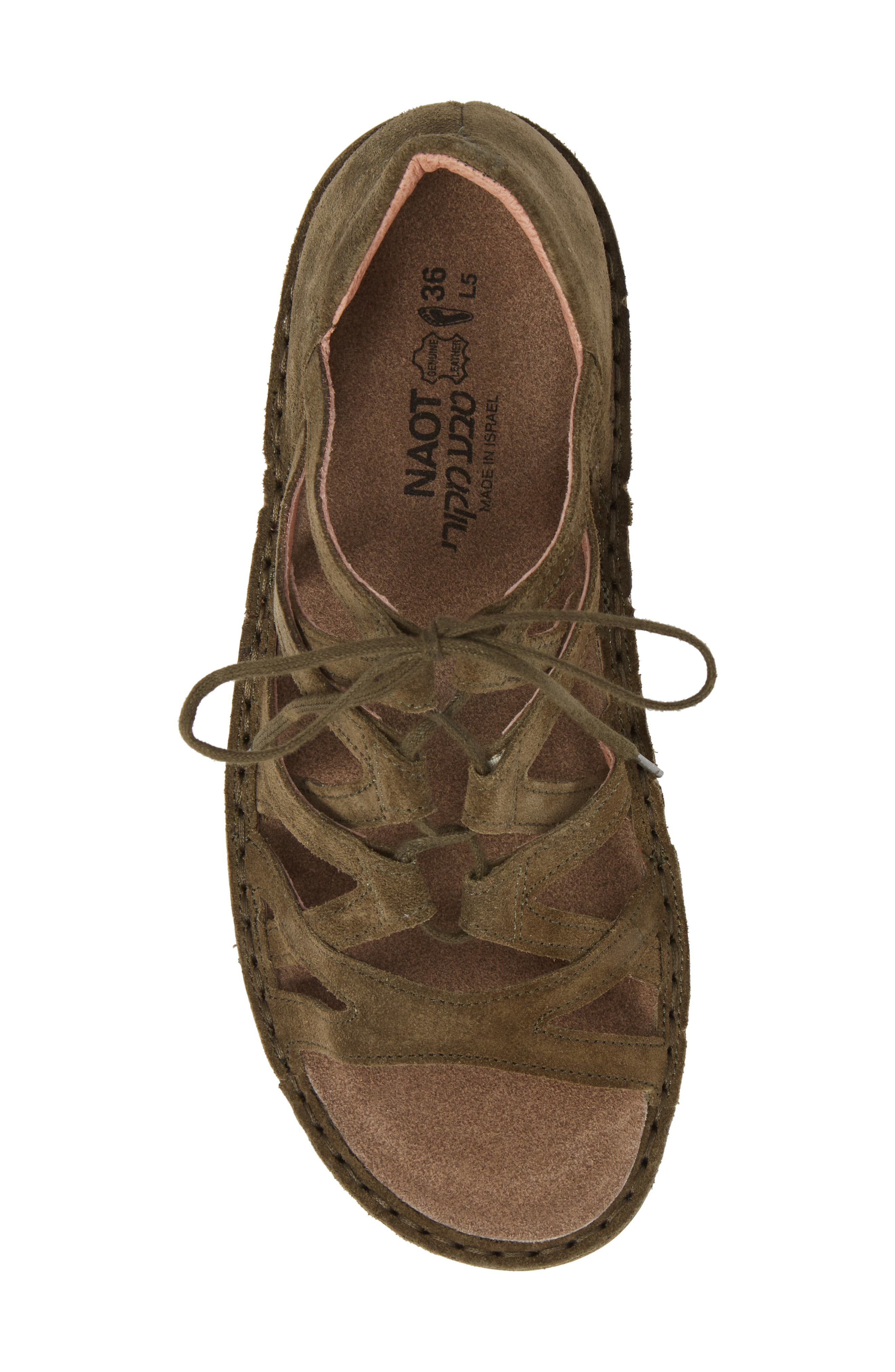 Yarrow Sandal,                             Alternate thumbnail 5, color,                             Oily Olive Suede