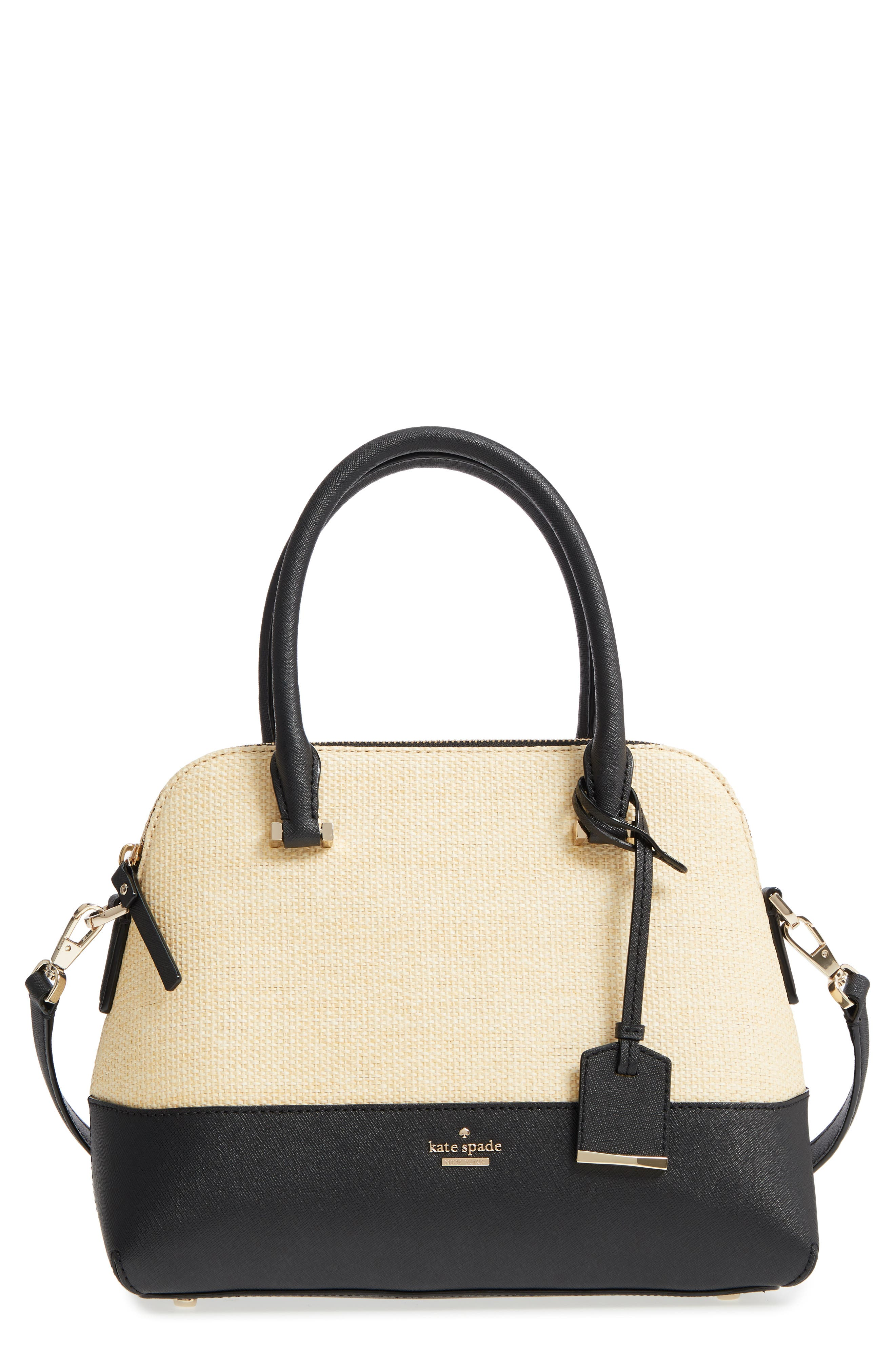 kate spade new york cameron street - straw & leather maise satchel