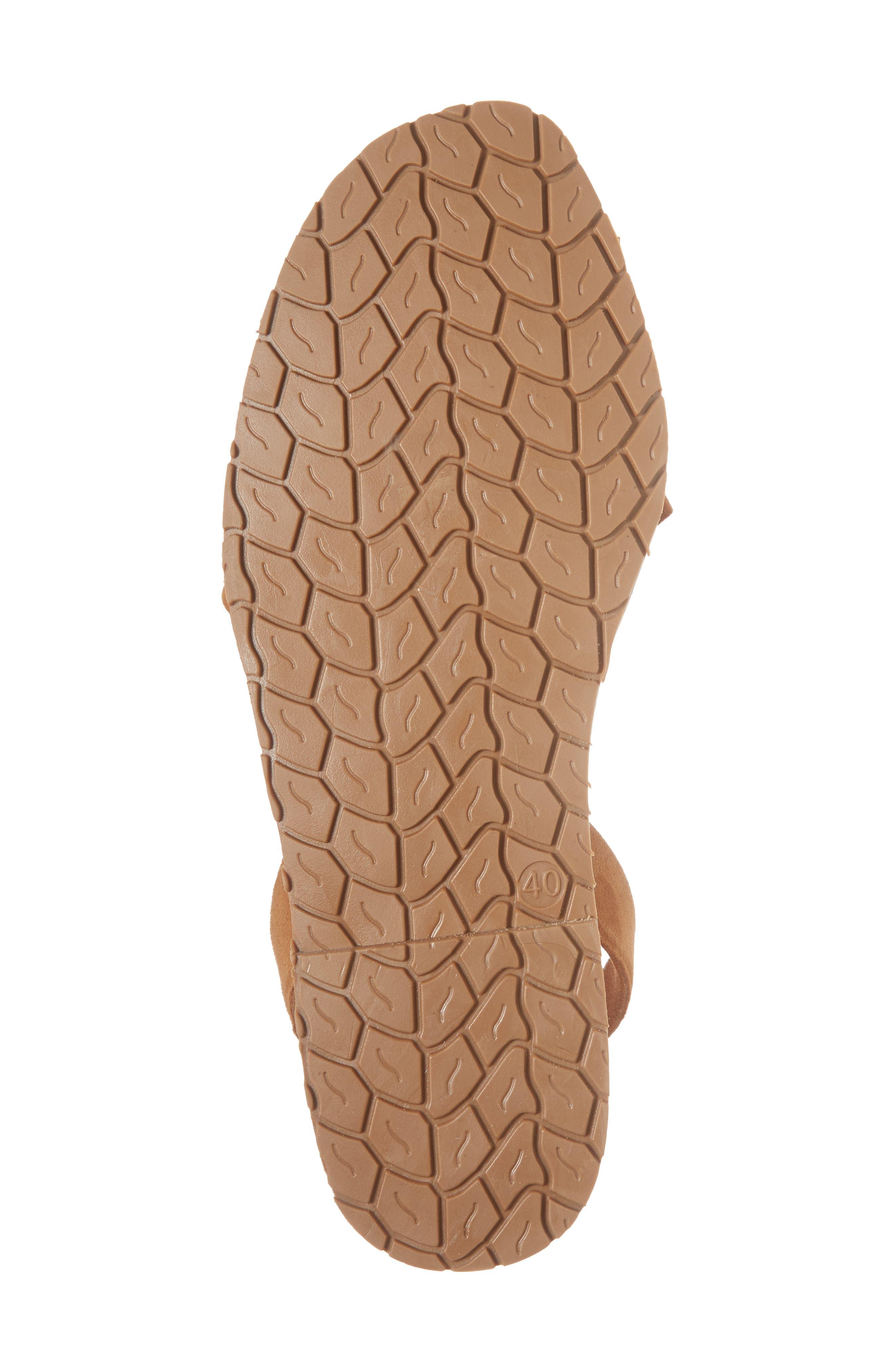 Frilled Flat Sandal,                             Alternate thumbnail 6, color,                             Tan