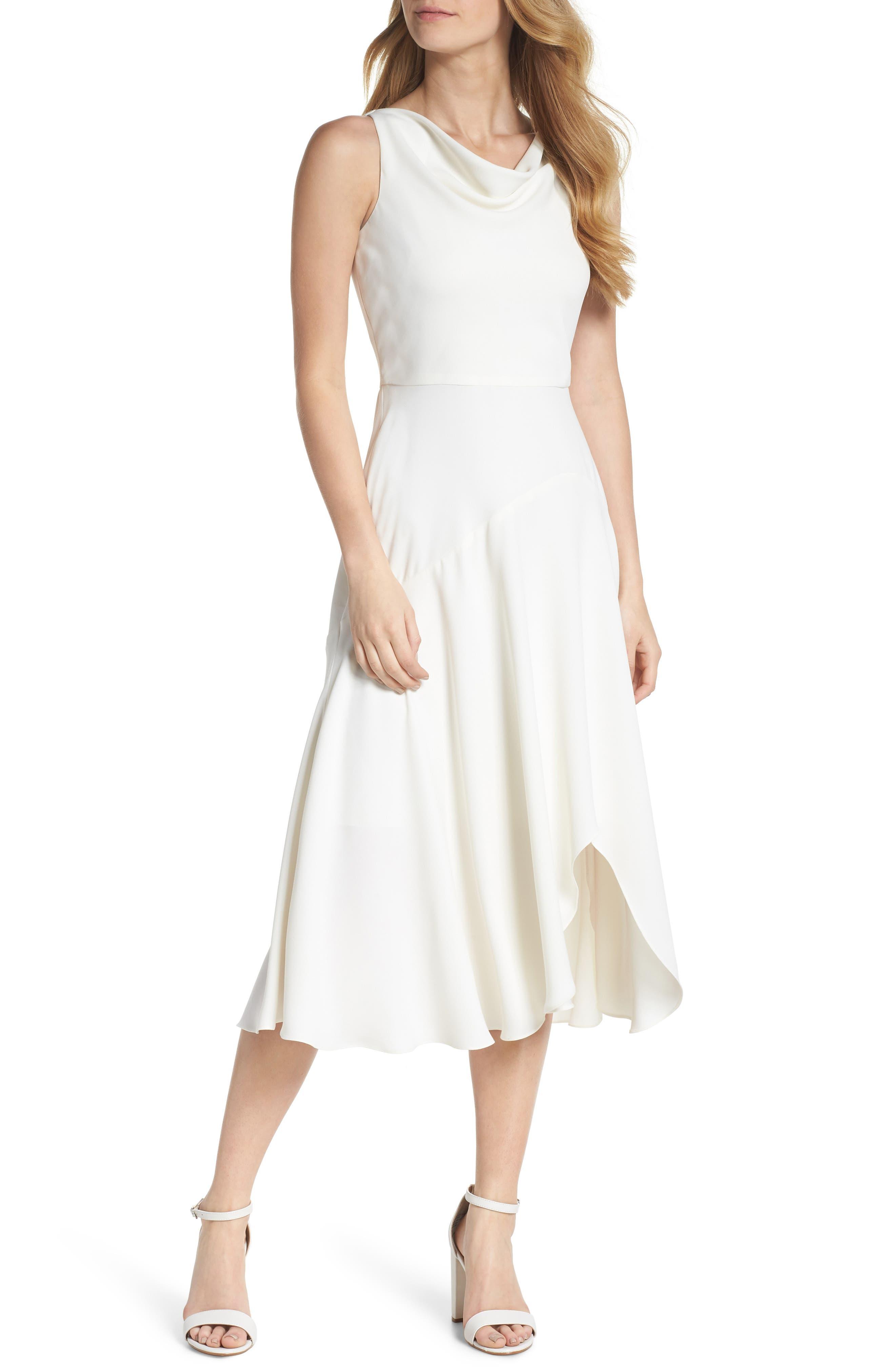 Juliet Cowl Neck Crepe Dress,                             Main thumbnail 1, color,                             Cloud