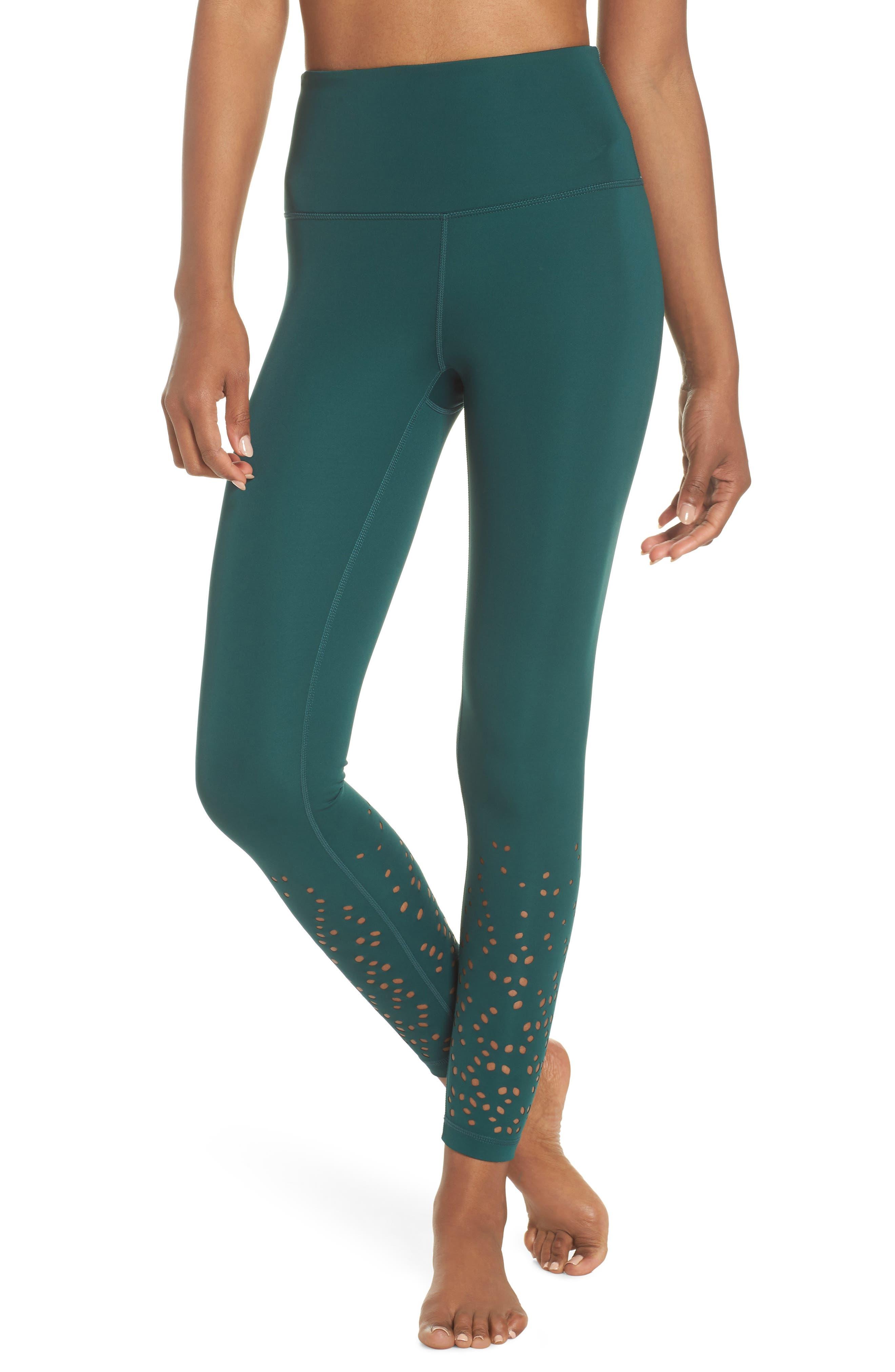 Geo High Waist Lasercut Leggings,                         Main,                         color, Green Bug
