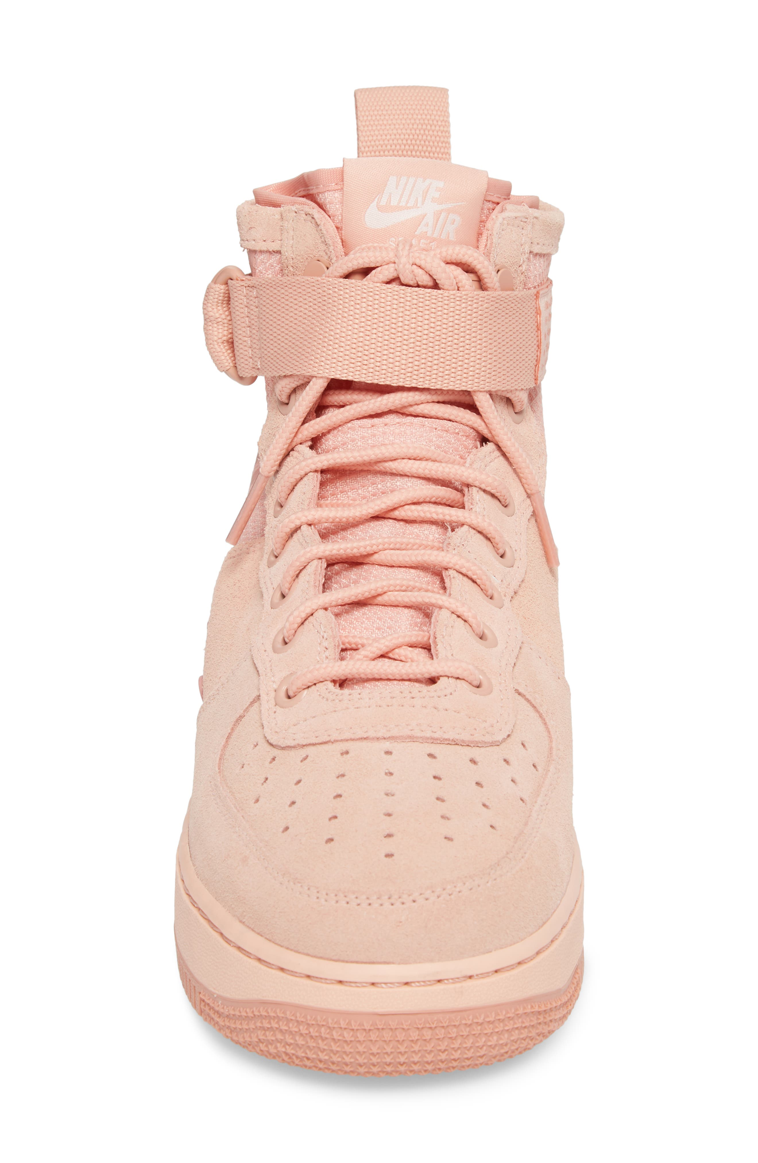SF Air Force 1 Mid Suede Sneaker,                             Alternate thumbnail 4, color,                             Coral Stardust/ Red Stardust