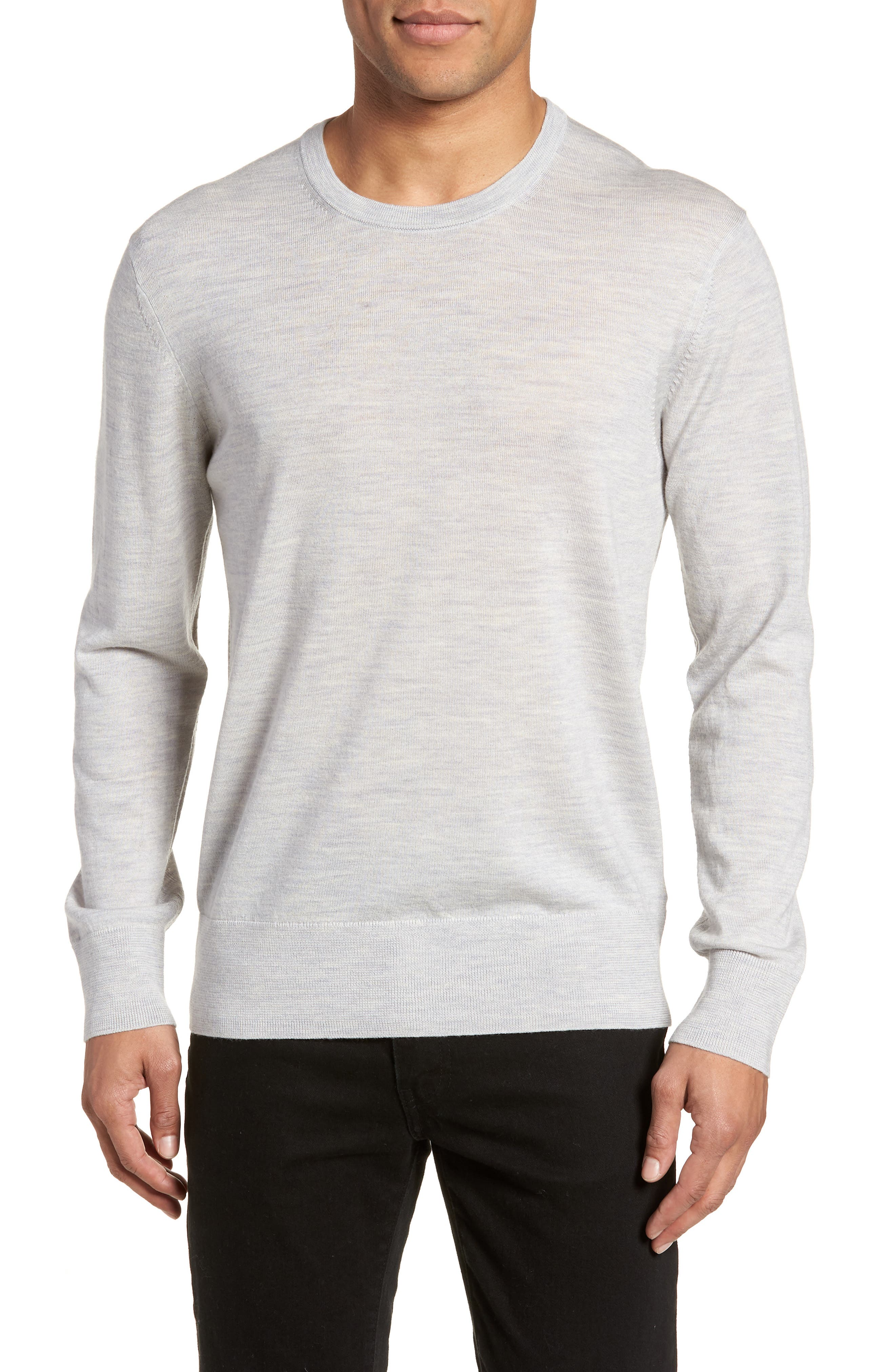 Lang Crewneck Wool Sweater,                         Main,                         color, Light Grey Marl
