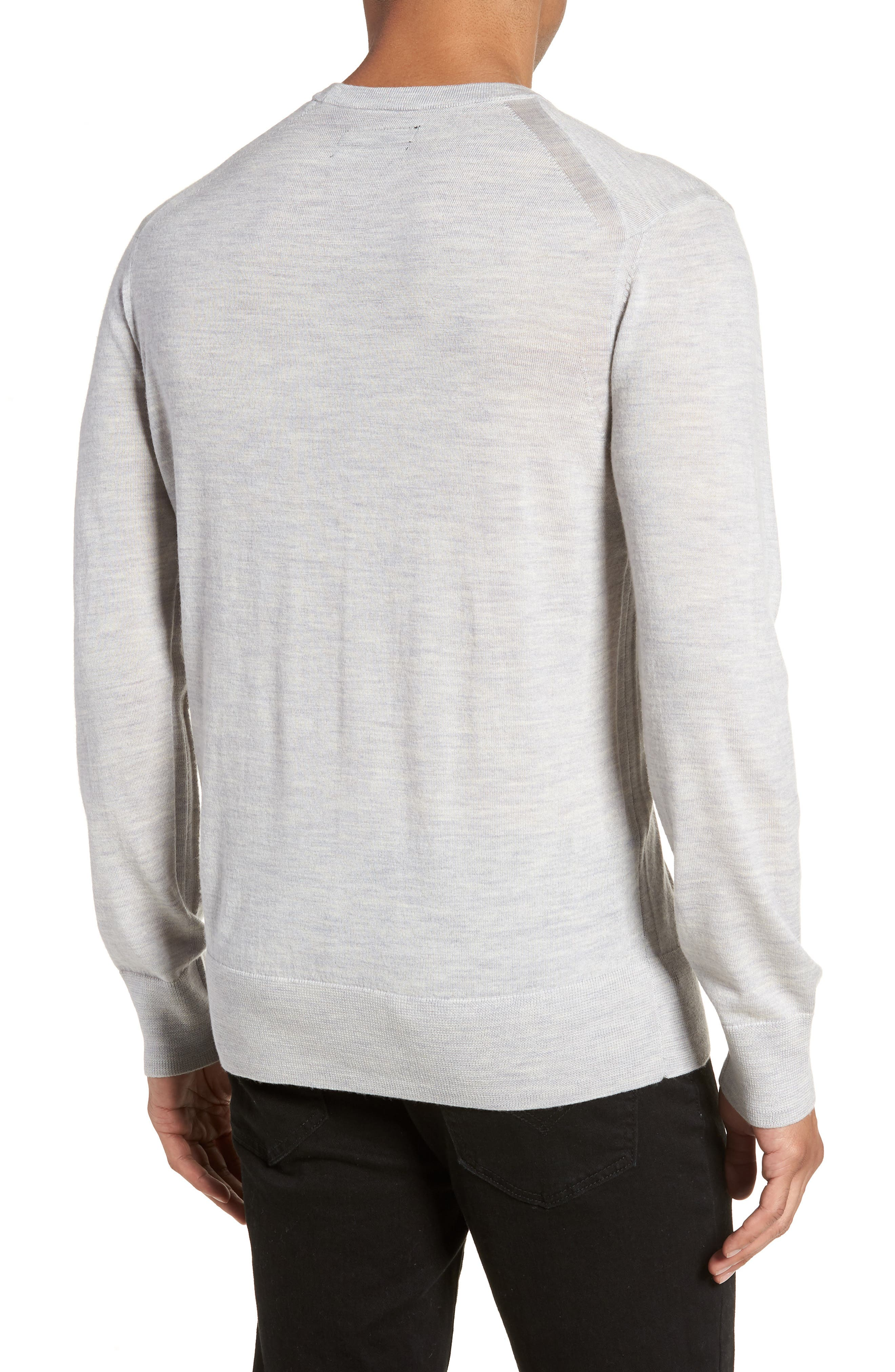 Lang Crewneck Wool Sweater,                             Alternate thumbnail 2, color,                             Light Grey Marl