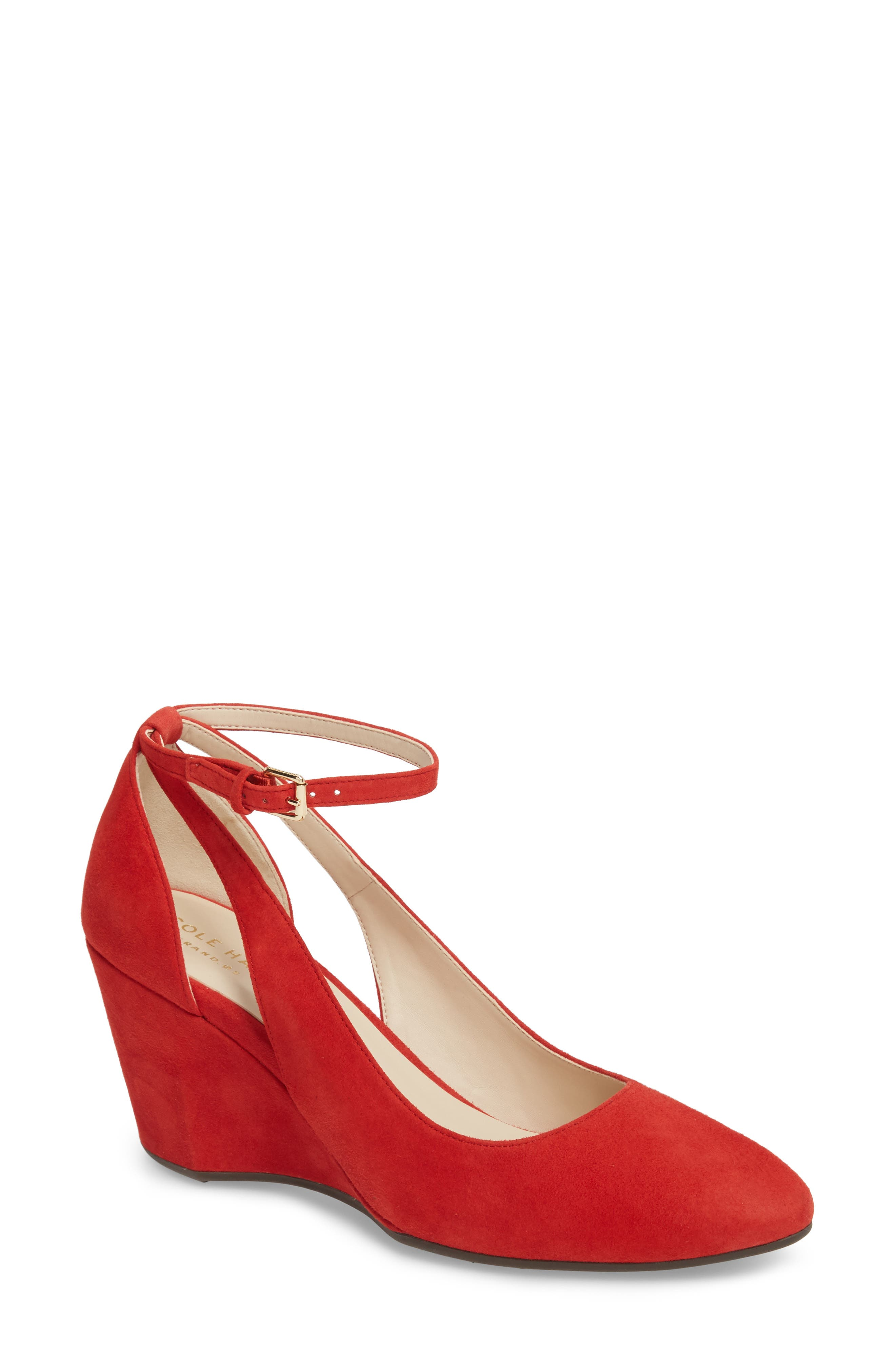 Lacey Cutout Wedge Pump in Barbados Cherry Suede