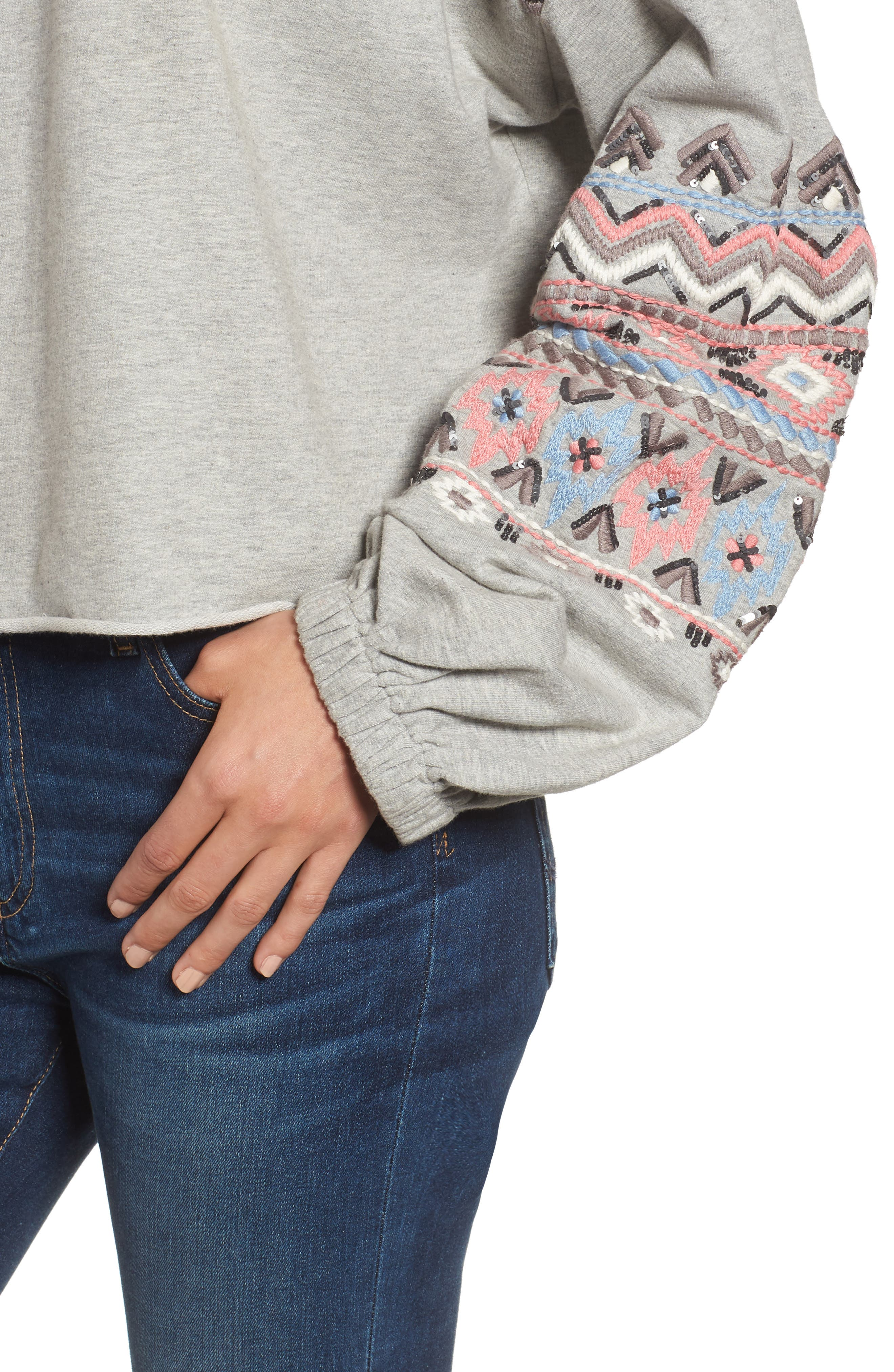 Embroidered Beaded Sweatshirt,                             Alternate thumbnail 4, color,                             Grey