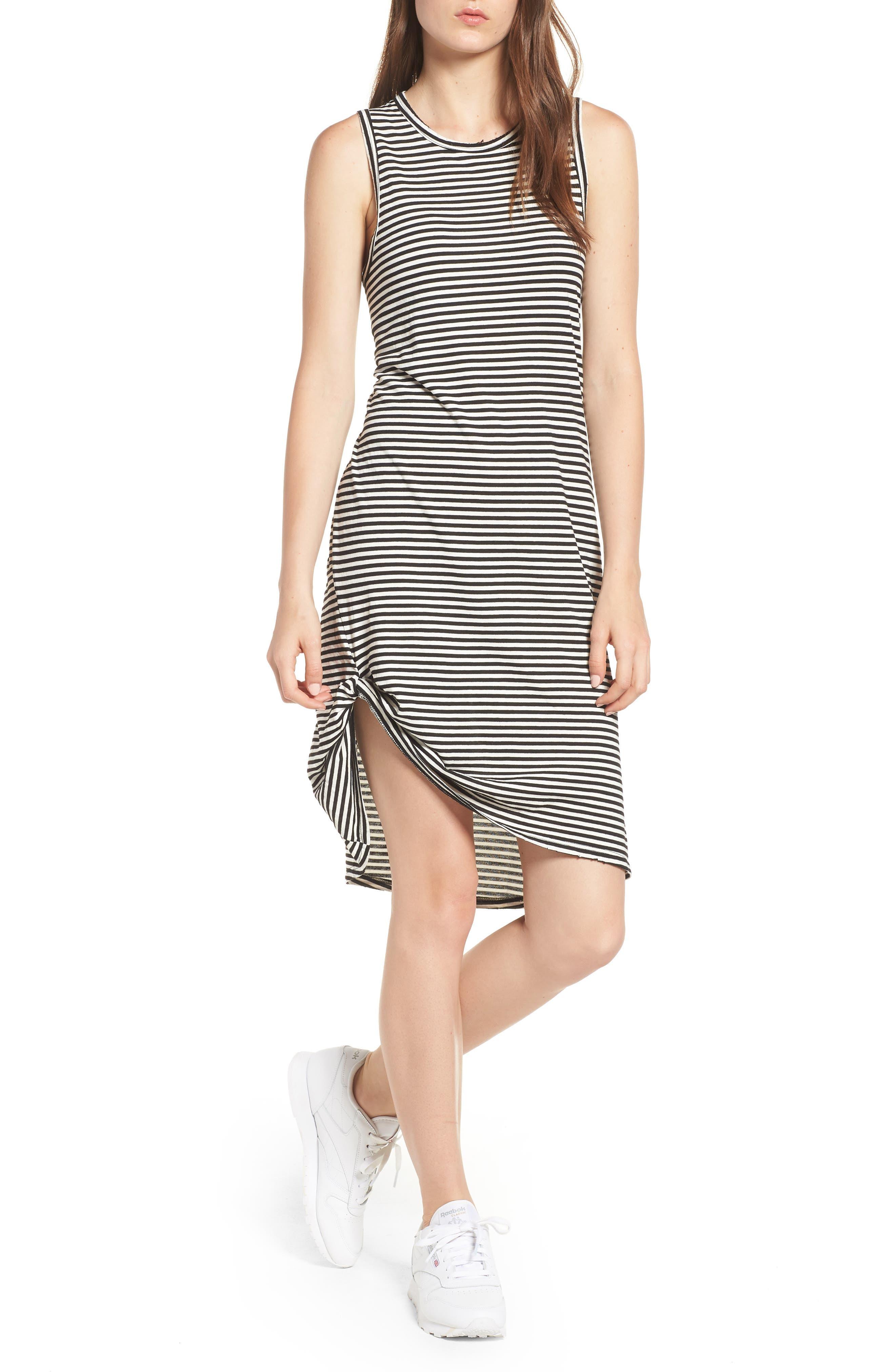 Boo Stripe High/Low Dress,                             Main thumbnail 1, color,                             Black Cat/ White Stripe