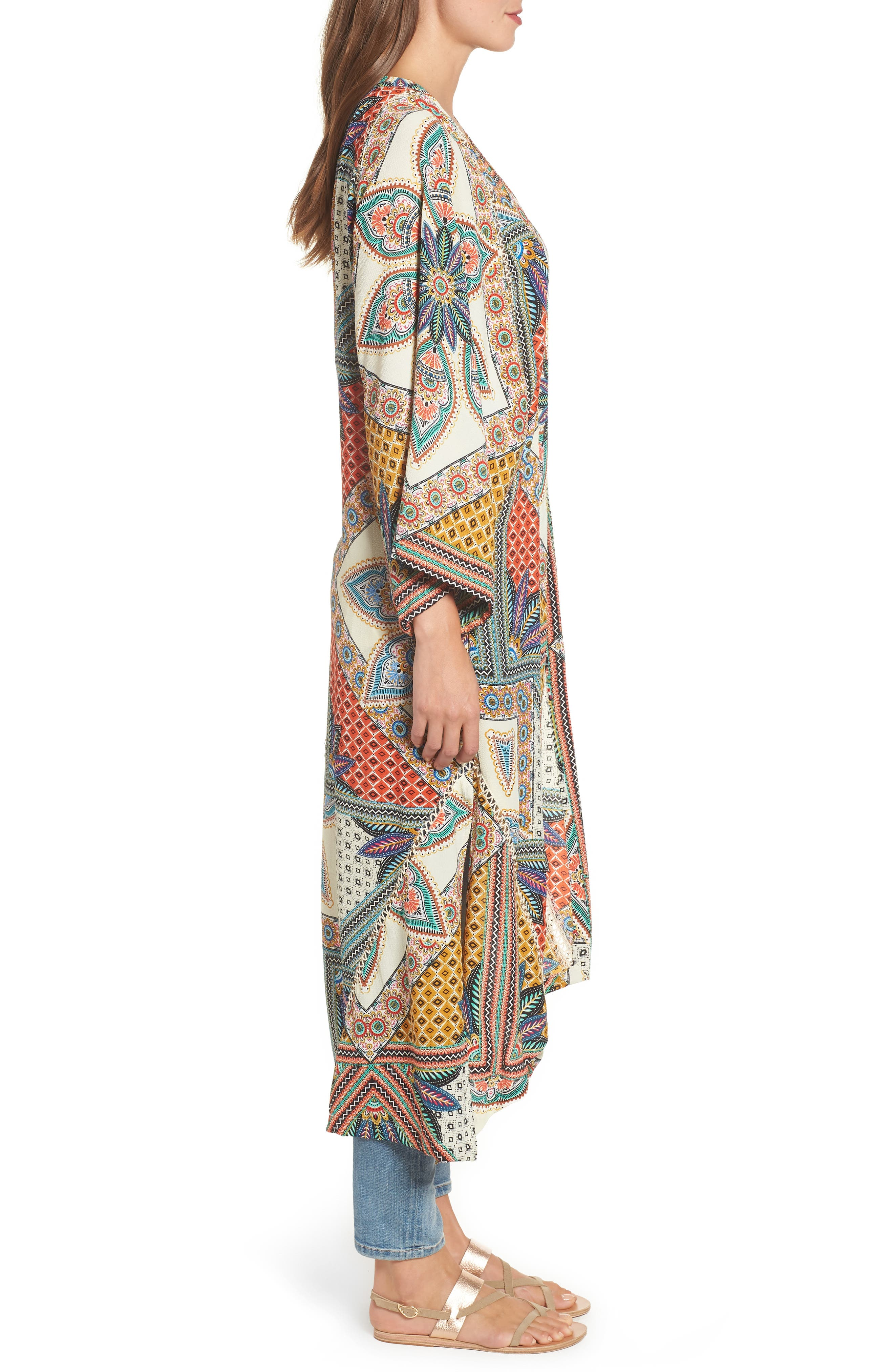 Scarf Print Kimono Jacket,                             Alternate thumbnail 3, color,                             Multi