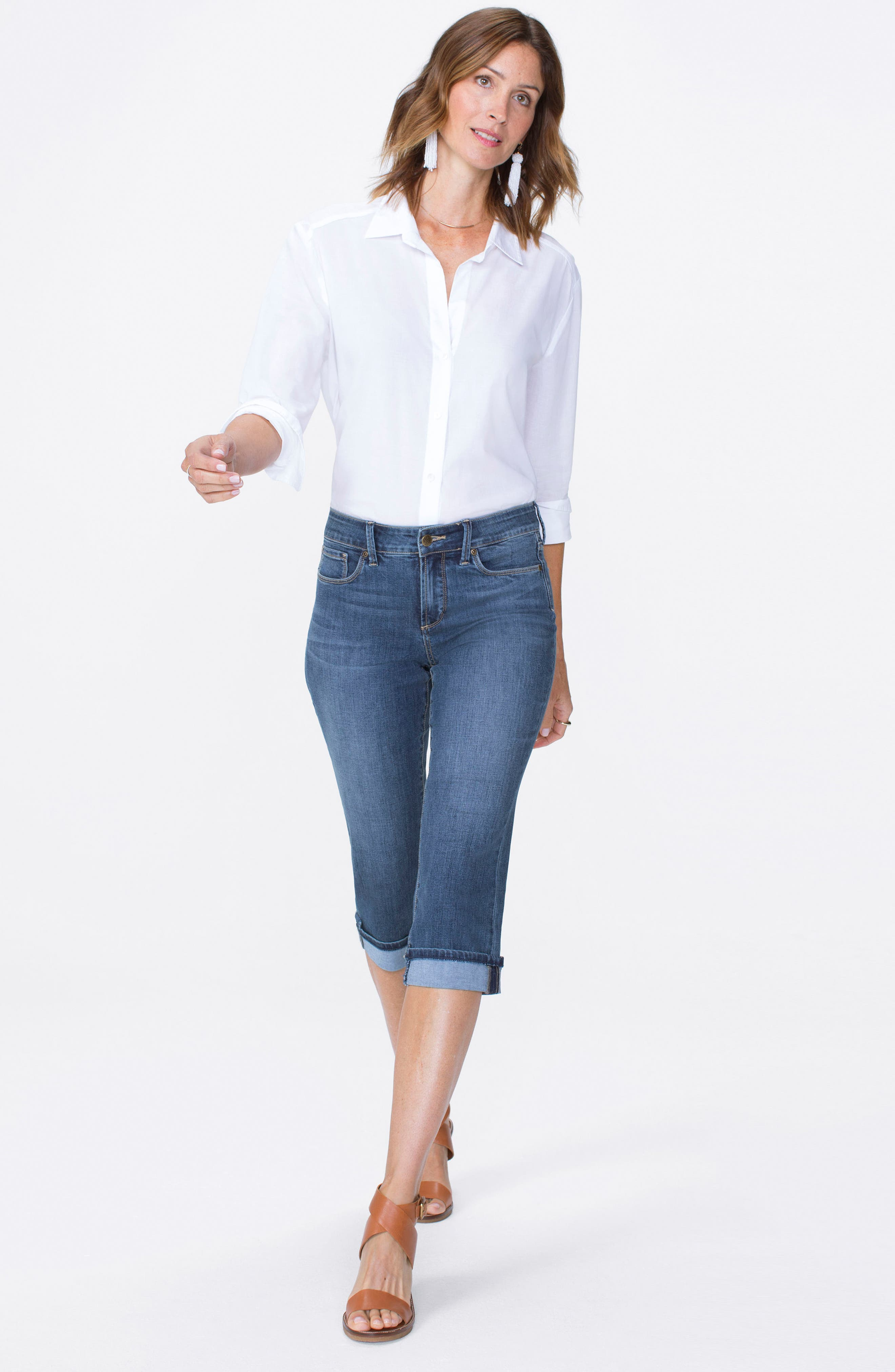 Marilyn Cuffed Stretch Crop Jeans,                             Alternate thumbnail 4, color,                             Zimbali