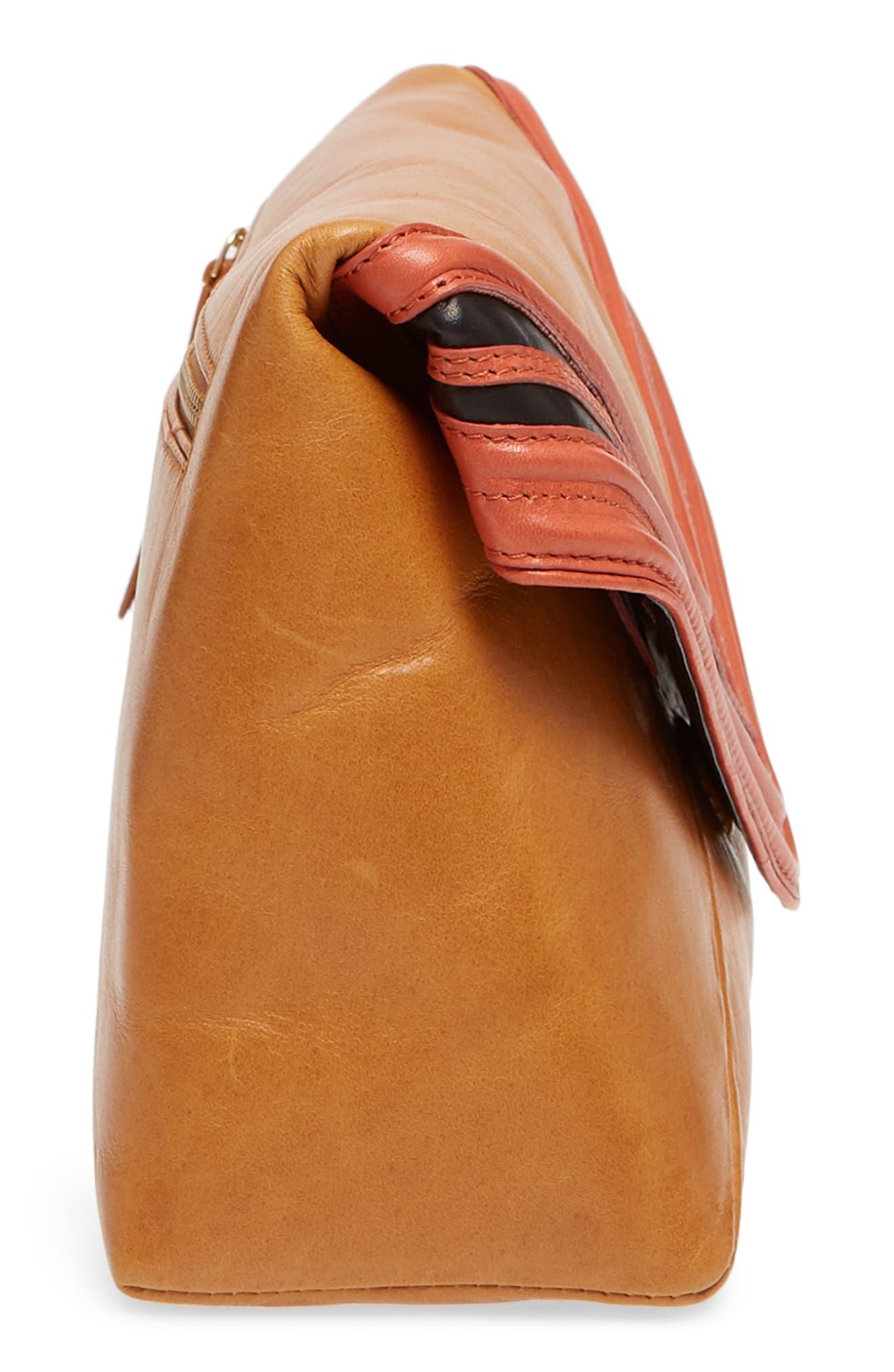 Leather Envelope Clutch,                             Alternate thumbnail 5, color,                             Camel
