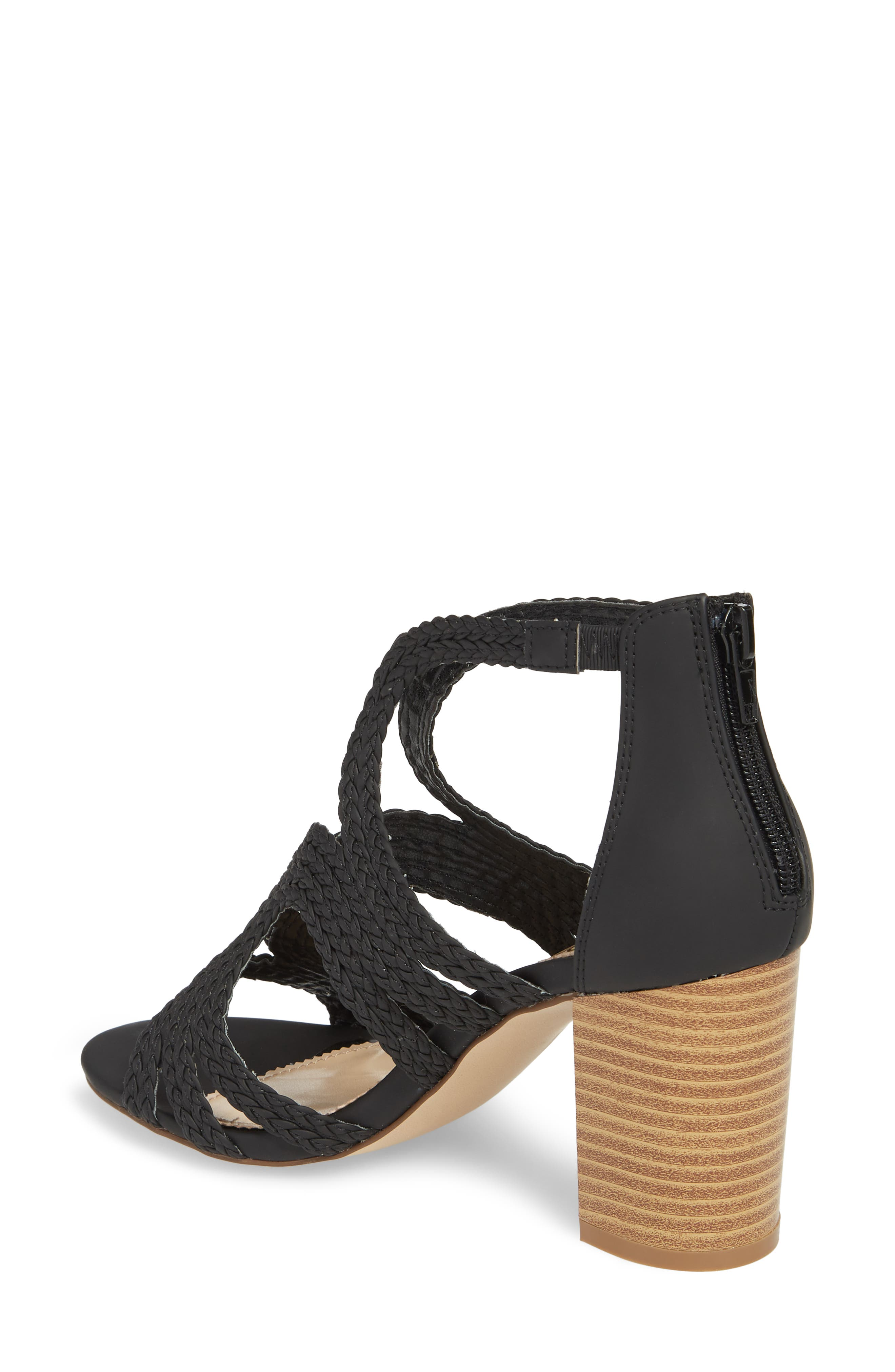 Shindig Block Heel Sandal,                             Alternate thumbnail 2, color,                             Black Fabric
