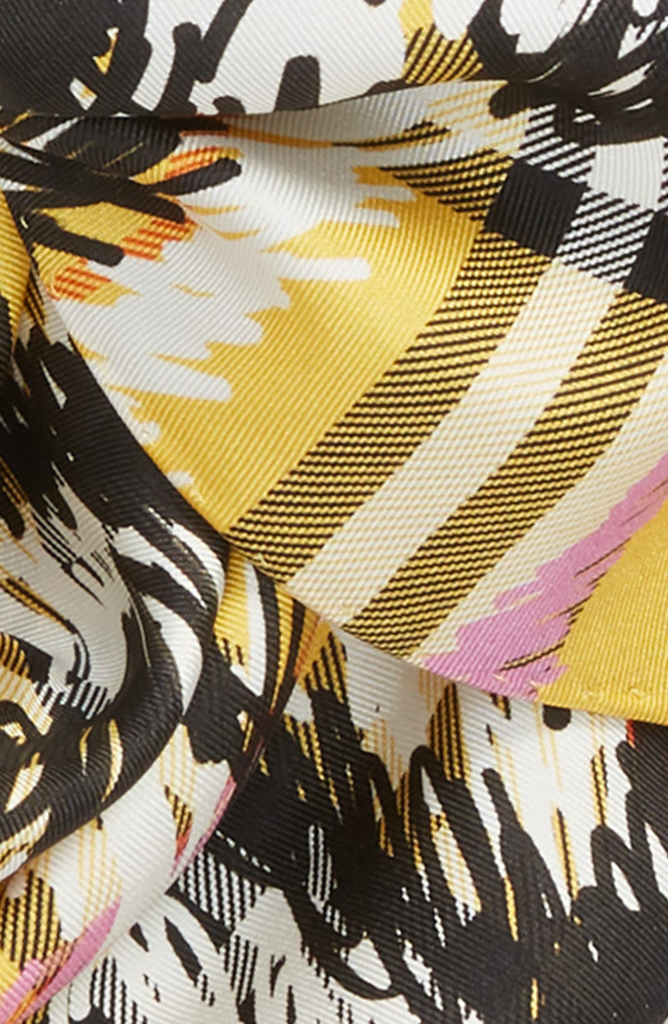 Scribble Vintage Check Silk Scarf,                             Alternate thumbnail 3, color,                             Bright Yellow