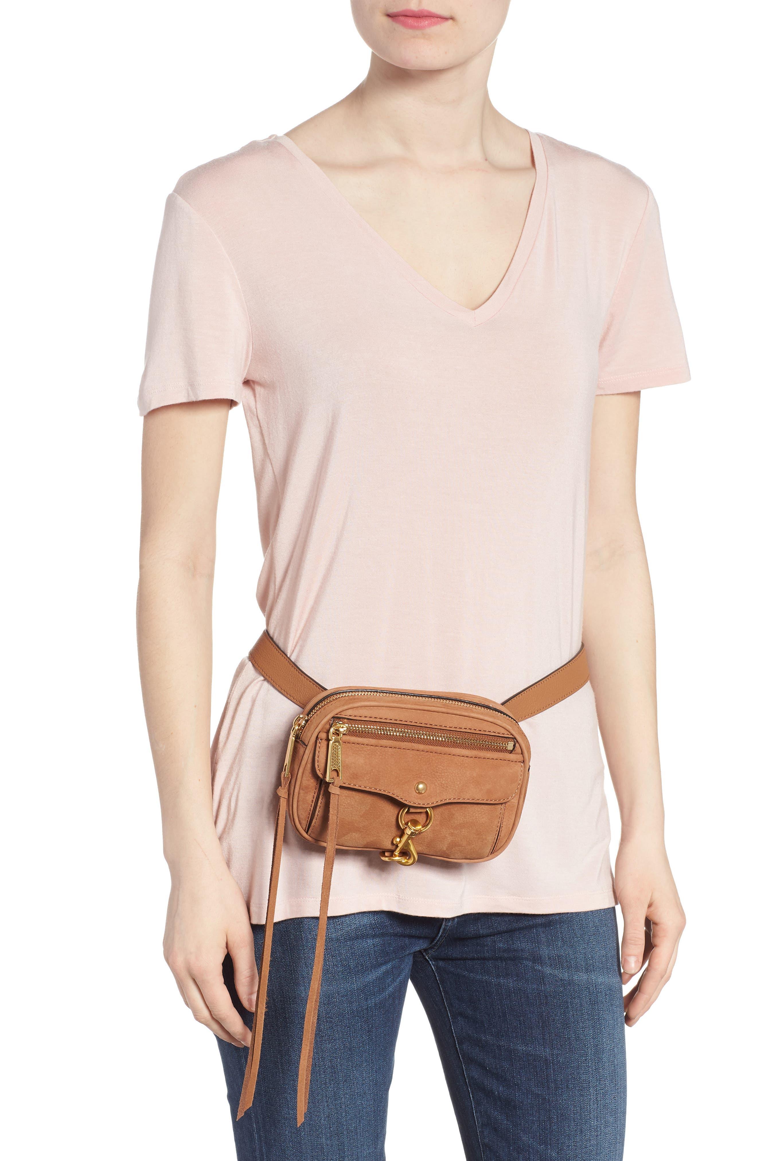Blythe Leather Belt Bag,                             Alternate thumbnail 3, color,                             Almond