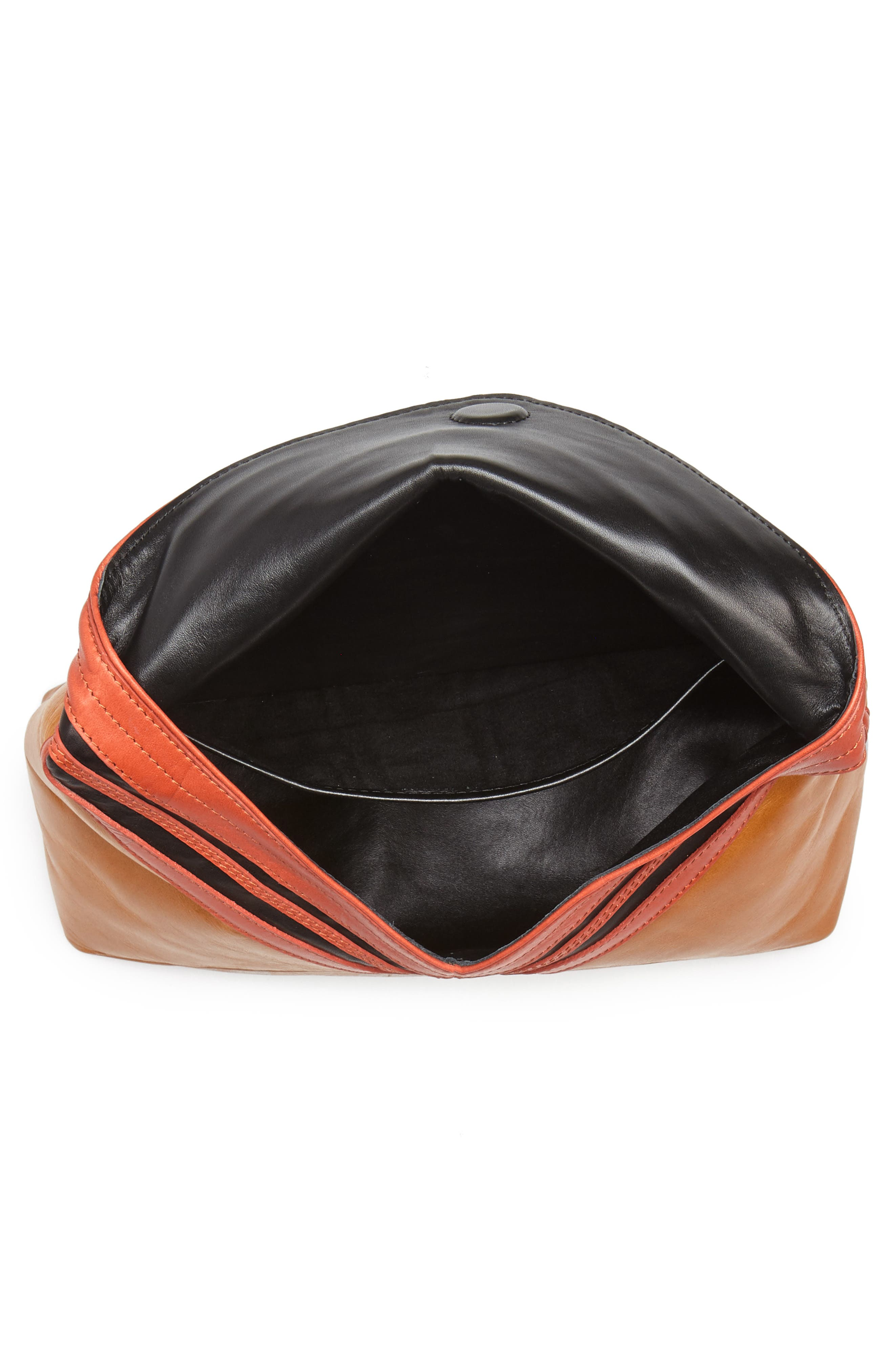 Leather Envelope Clutch,                             Alternate thumbnail 4, color,                             Camel