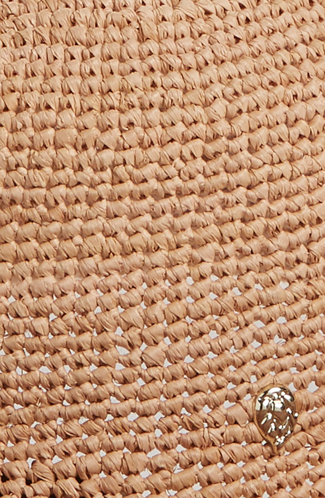 Classic Upturn Crocheted Raffia Hat,                             Alternate thumbnail 2, color,                             Nougat