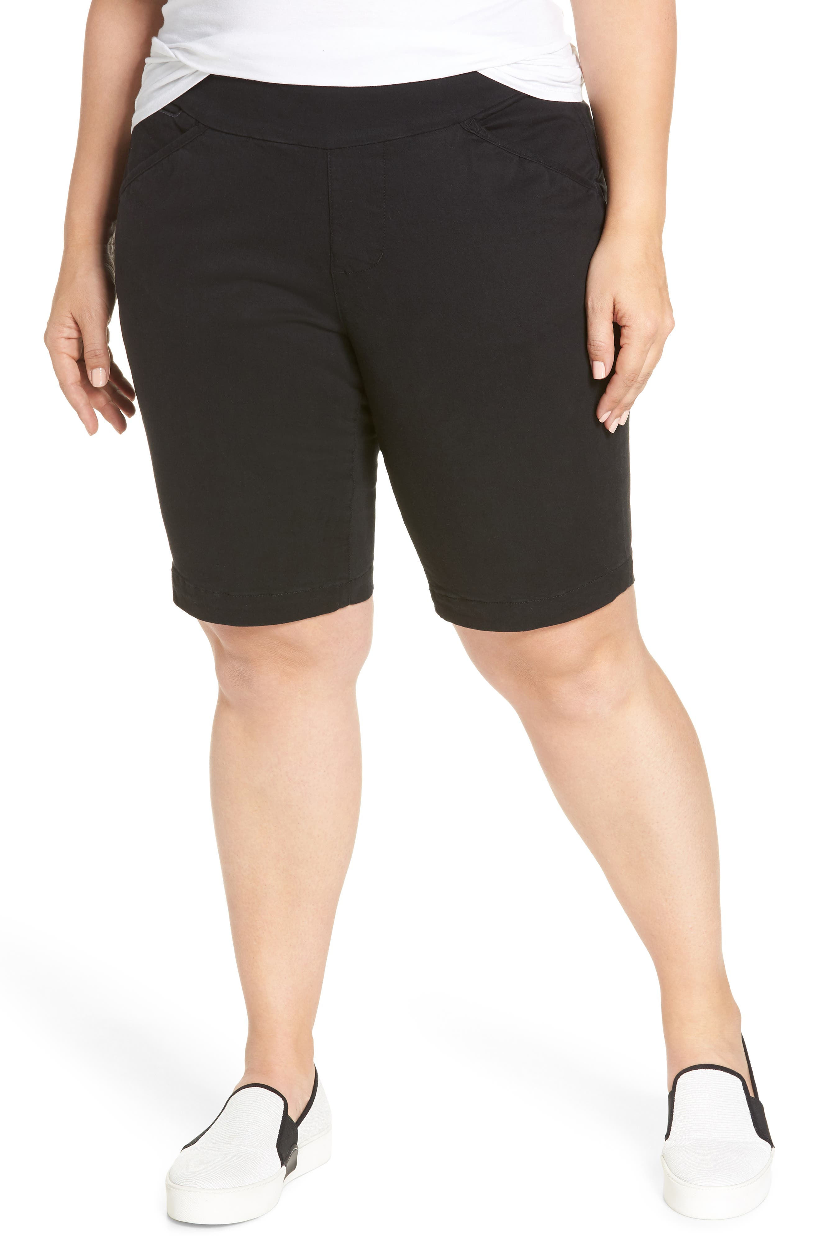 Ainsley Pull-On Bermuda Shorts,                             Main thumbnail 1, color,                             Black