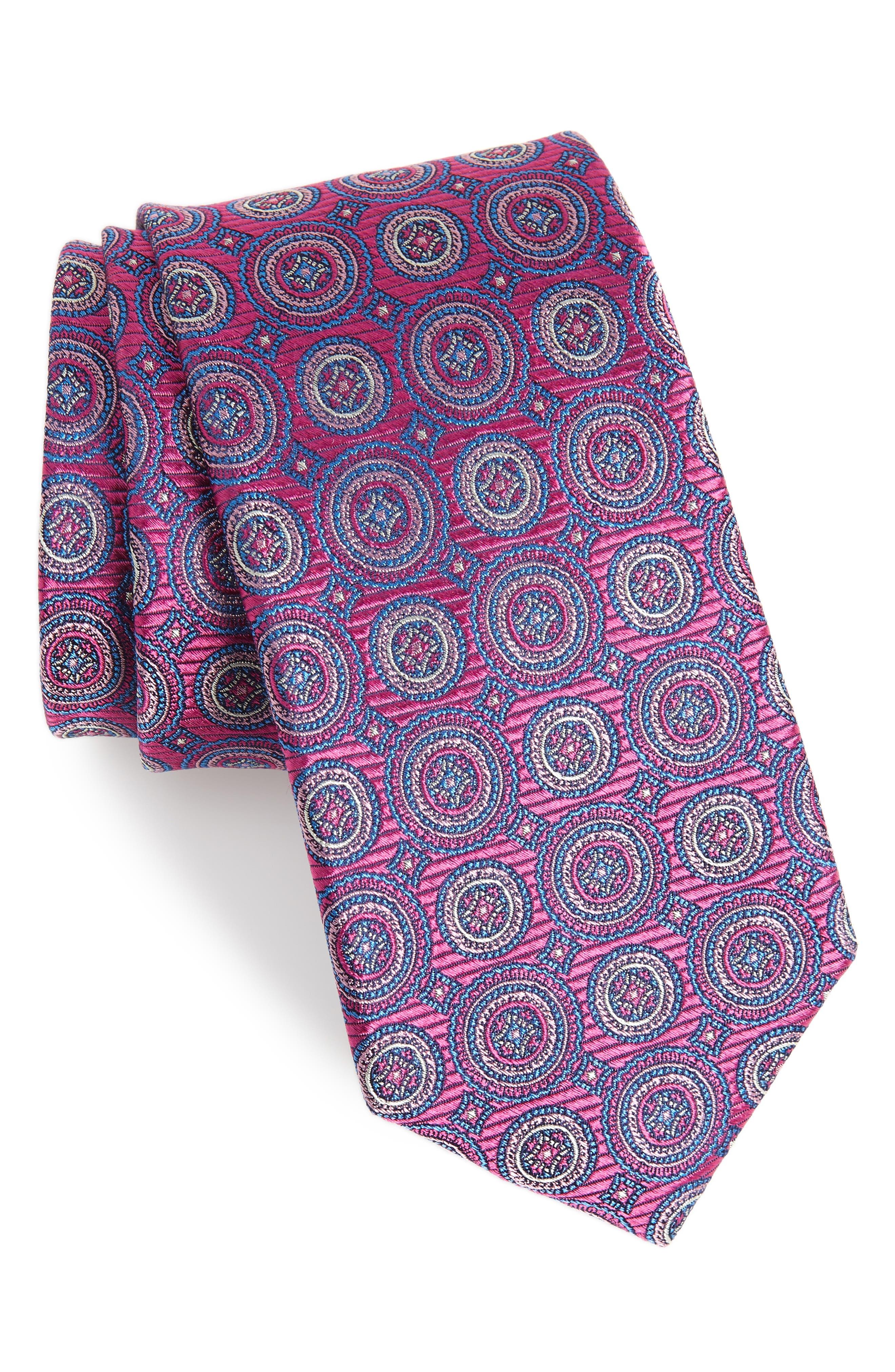 Santa Lucia Circles Silk Tie,                             Main thumbnail 1, color,                             Red