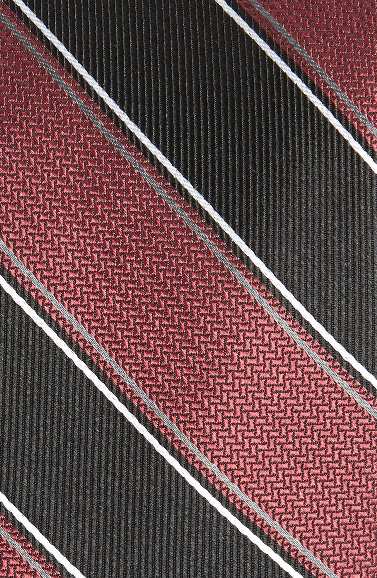 Stripe Silk Tie,                             Alternate thumbnail 2, color,                             Burgundy