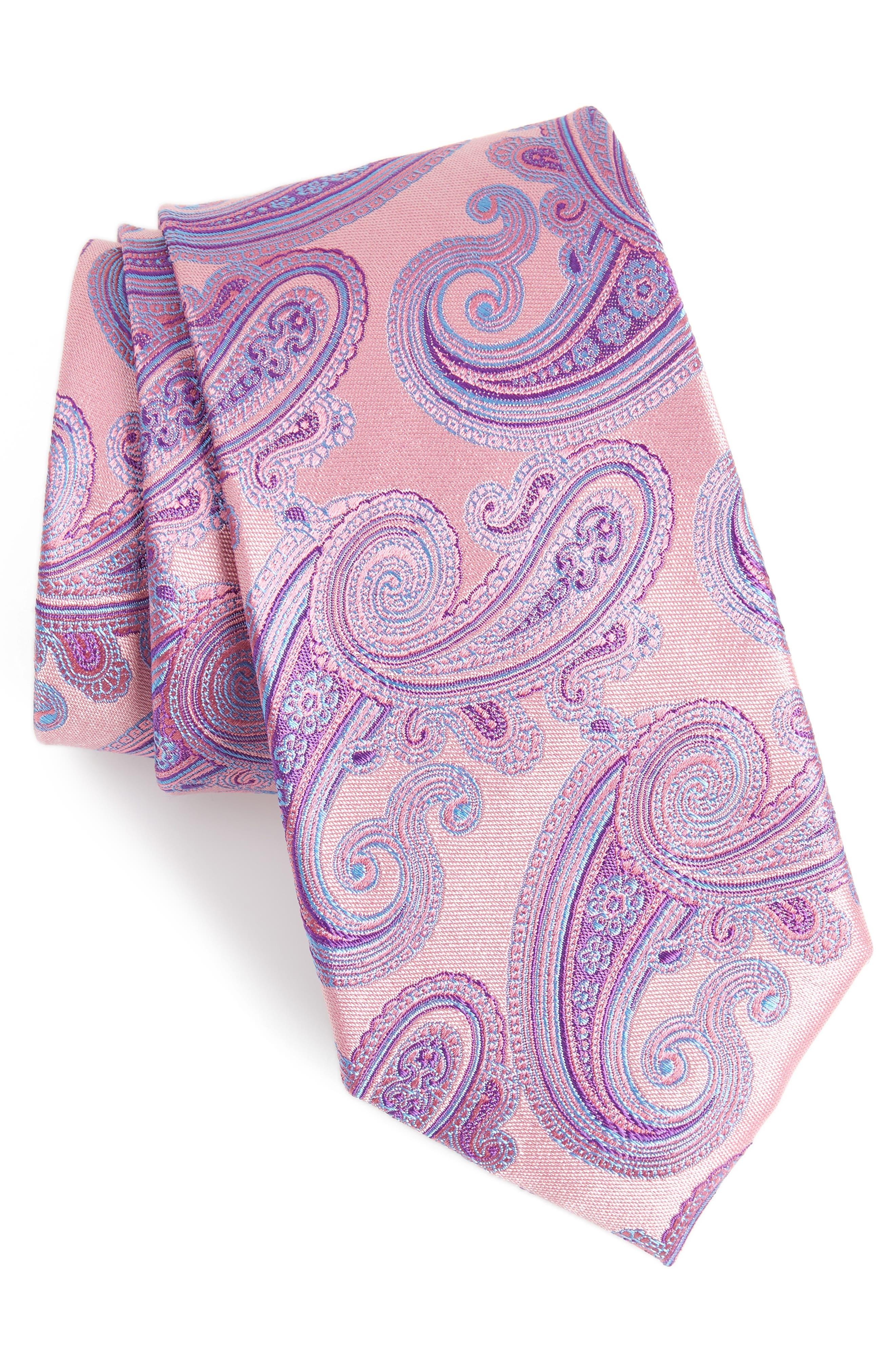 Swanee Paisley Silk Tie,                             Main thumbnail 1, color,                             Pink