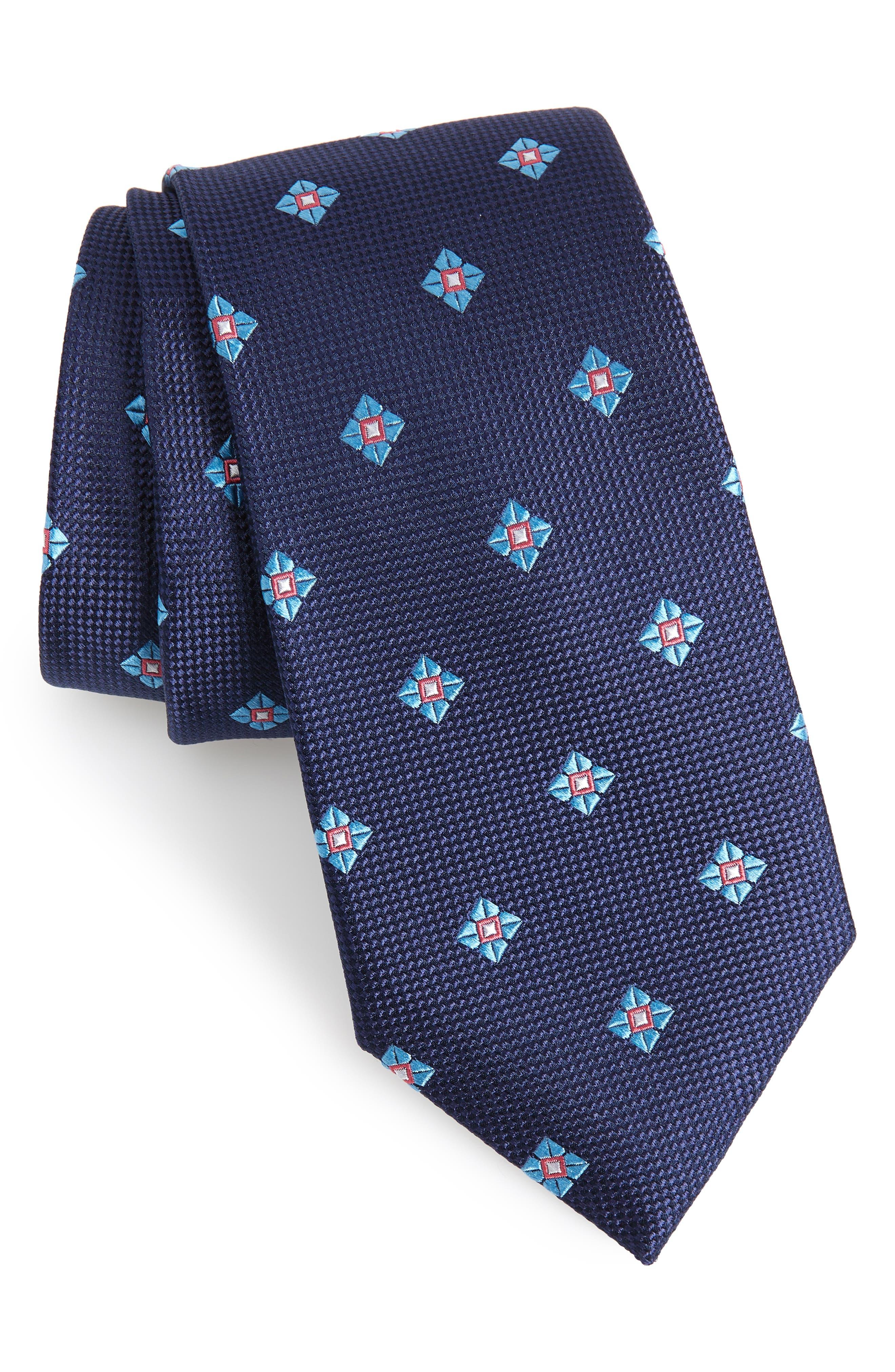 Oxford Medallion Silk Tie,                         Main,                         color, Navy