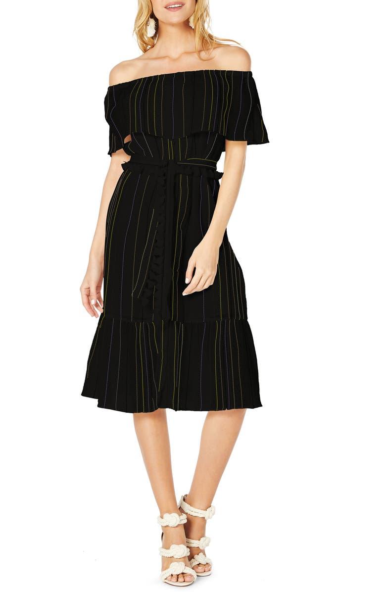 Beach Stripe Off The Shoulder Midi Dress