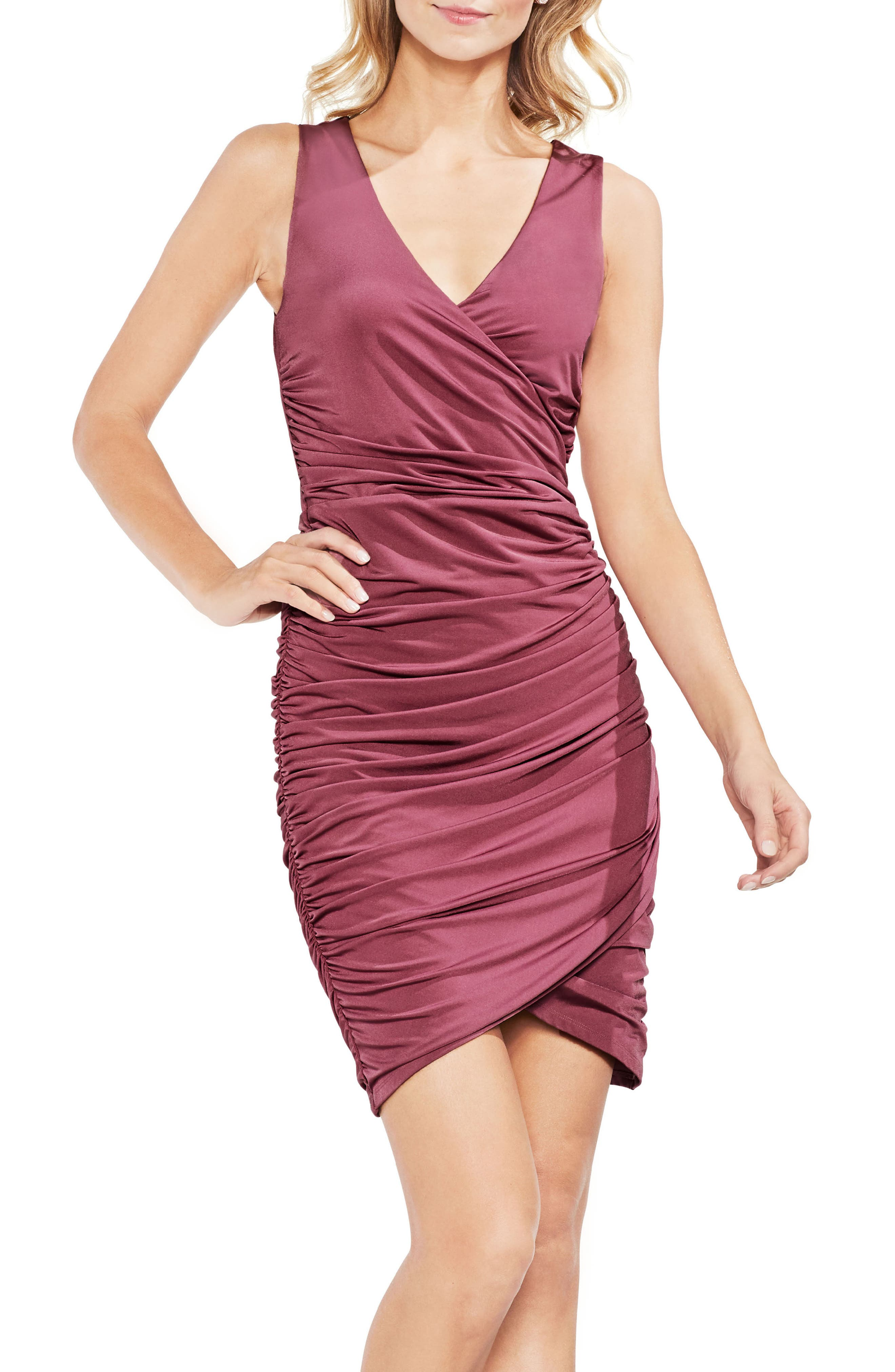 Ruched Liquid Knit Body-Con Dress,                             Main thumbnail 1, color,                             Summer Rose