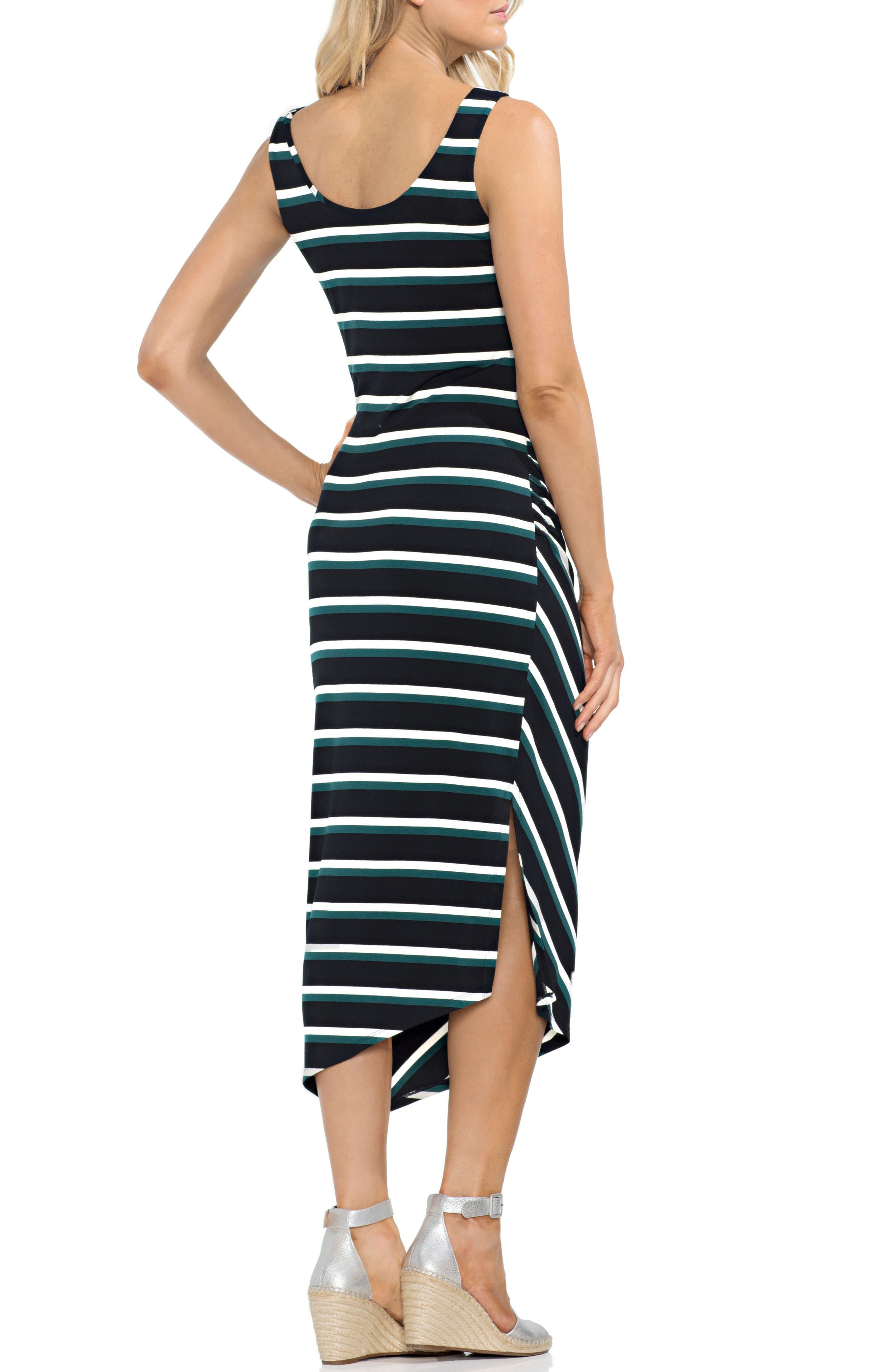 Ruched Stripe Dress,                             Alternate thumbnail 2, color,                             Verdant Green