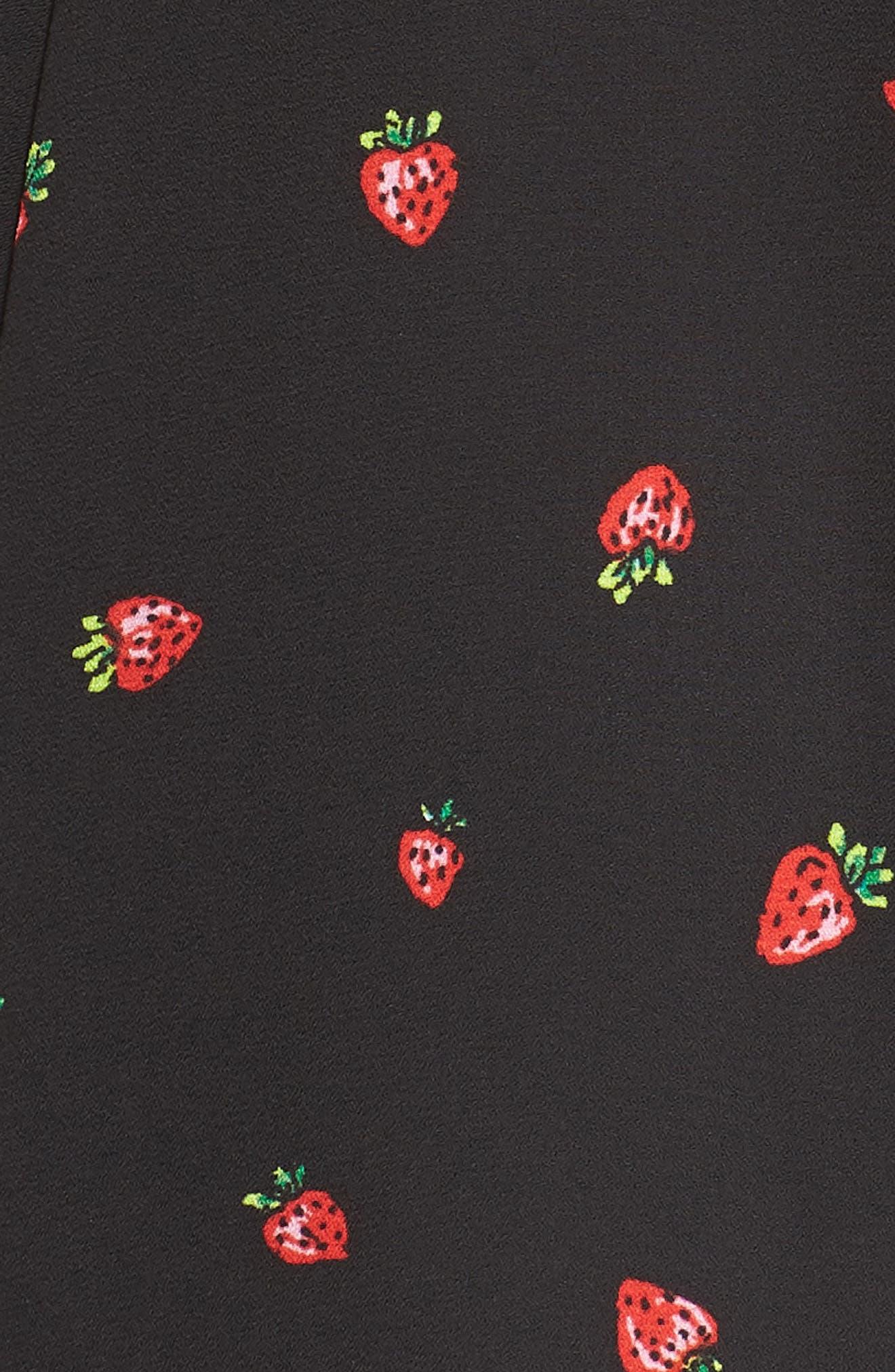 Ruffle Sleeve Dress,                             Alternate thumbnail 6, color,                             Strawberry Print