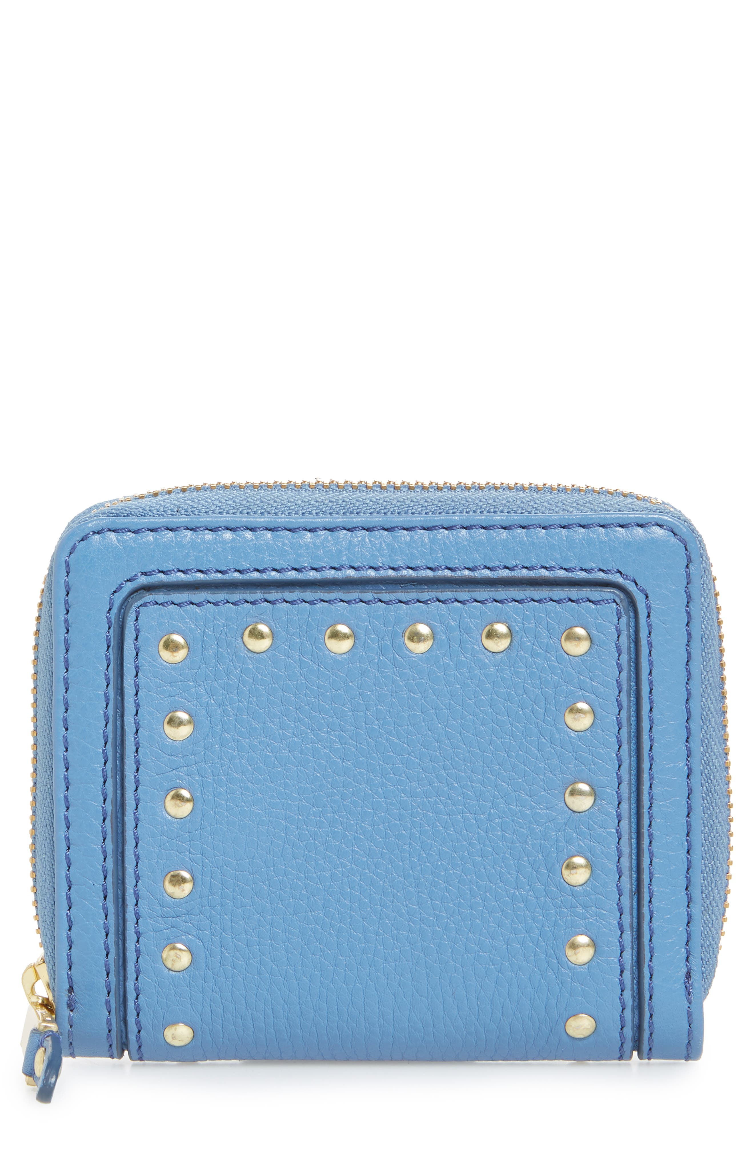 Cassidy Small RFID Leather Zip Wallet,                         Main,                         color, Riverside