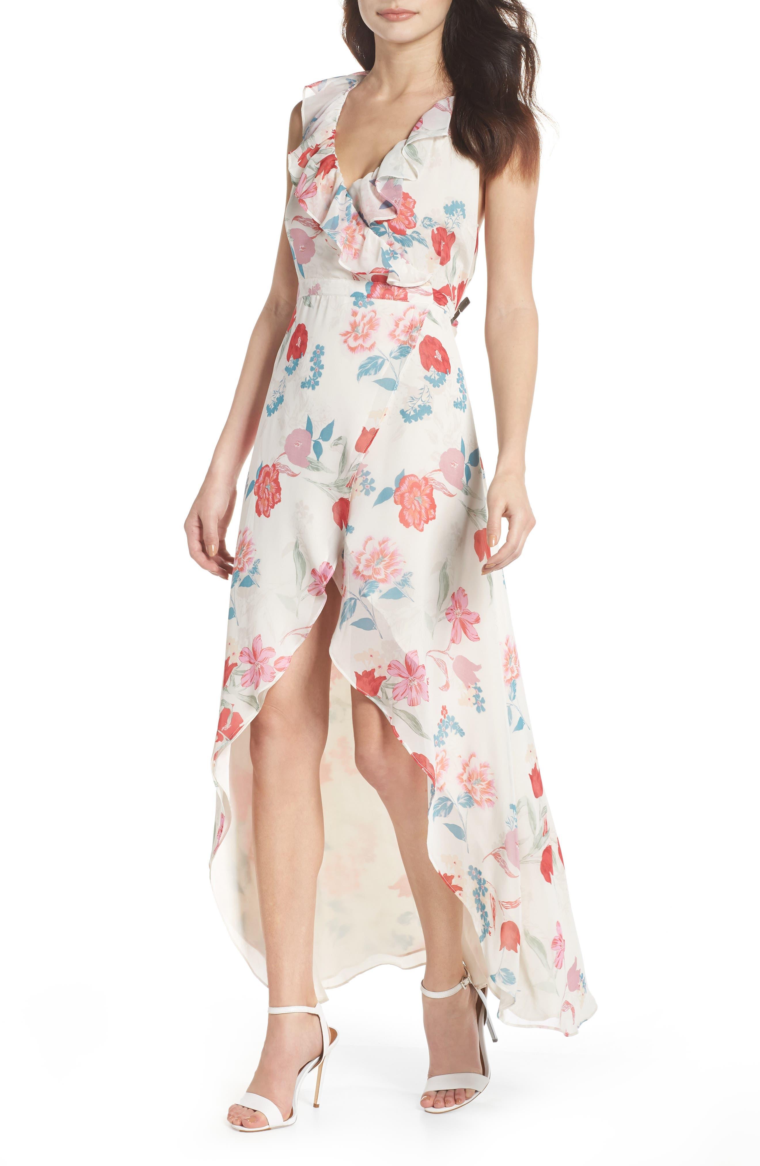 RSVP High/Low Wrap Dress,                             Main thumbnail 1, color,                             Ivory