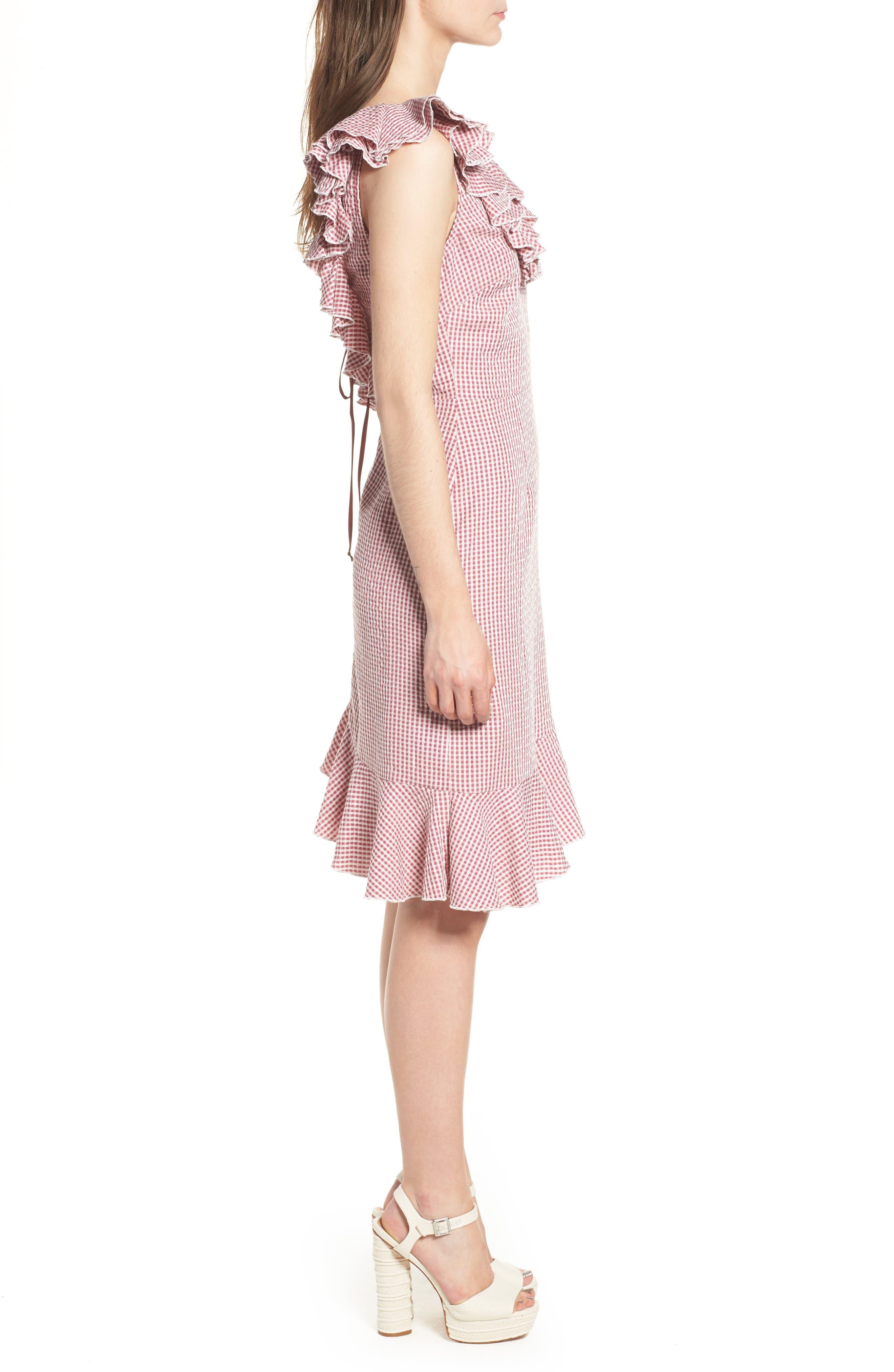 Asymmetrical Ruffle Dress,                             Alternate thumbnail 3, color,                             Red Gingham