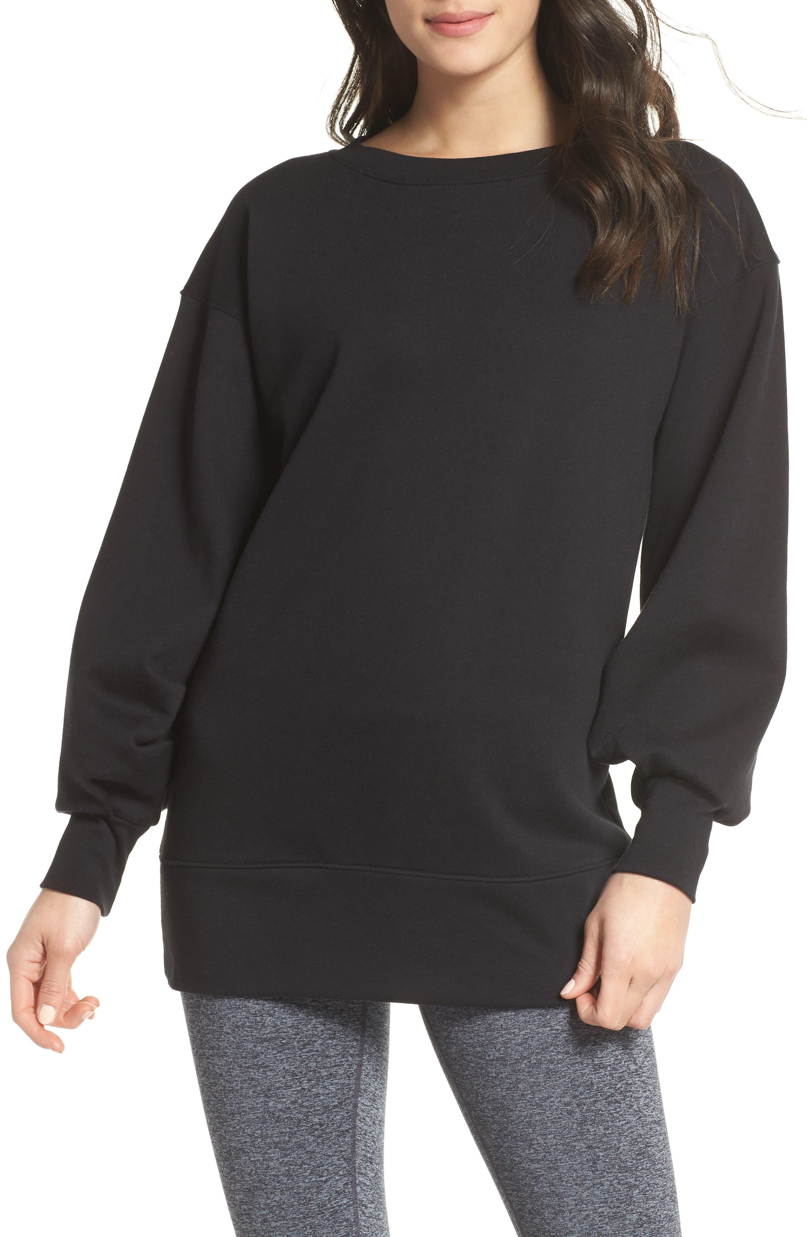 Boxy Oversize Sweatshirt,                             Main thumbnail 1, color,                             Black