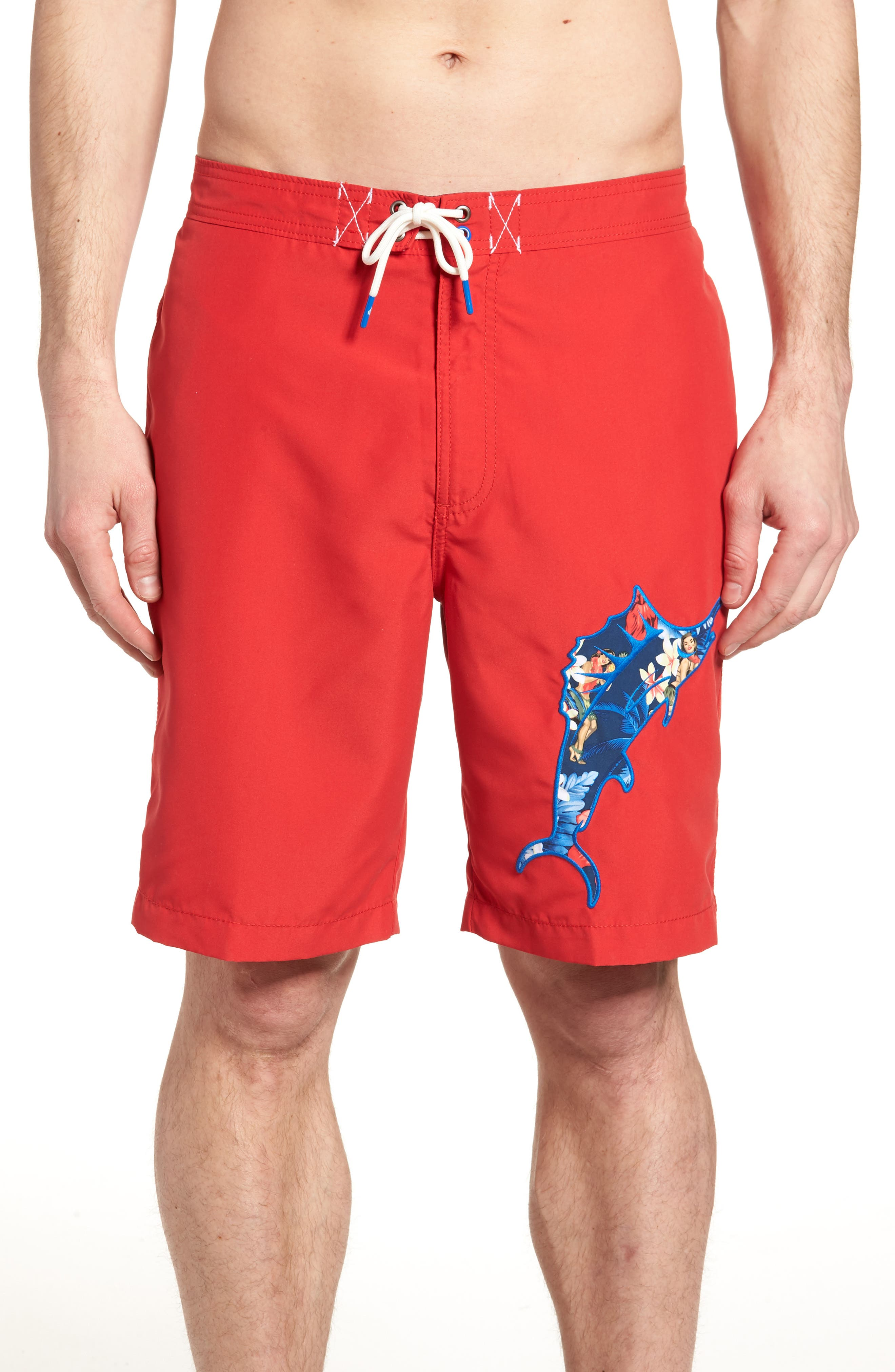 Baja Hula Holiday Marlin Board Shorts,                             Main thumbnail 1, color,                             Ribbon Red