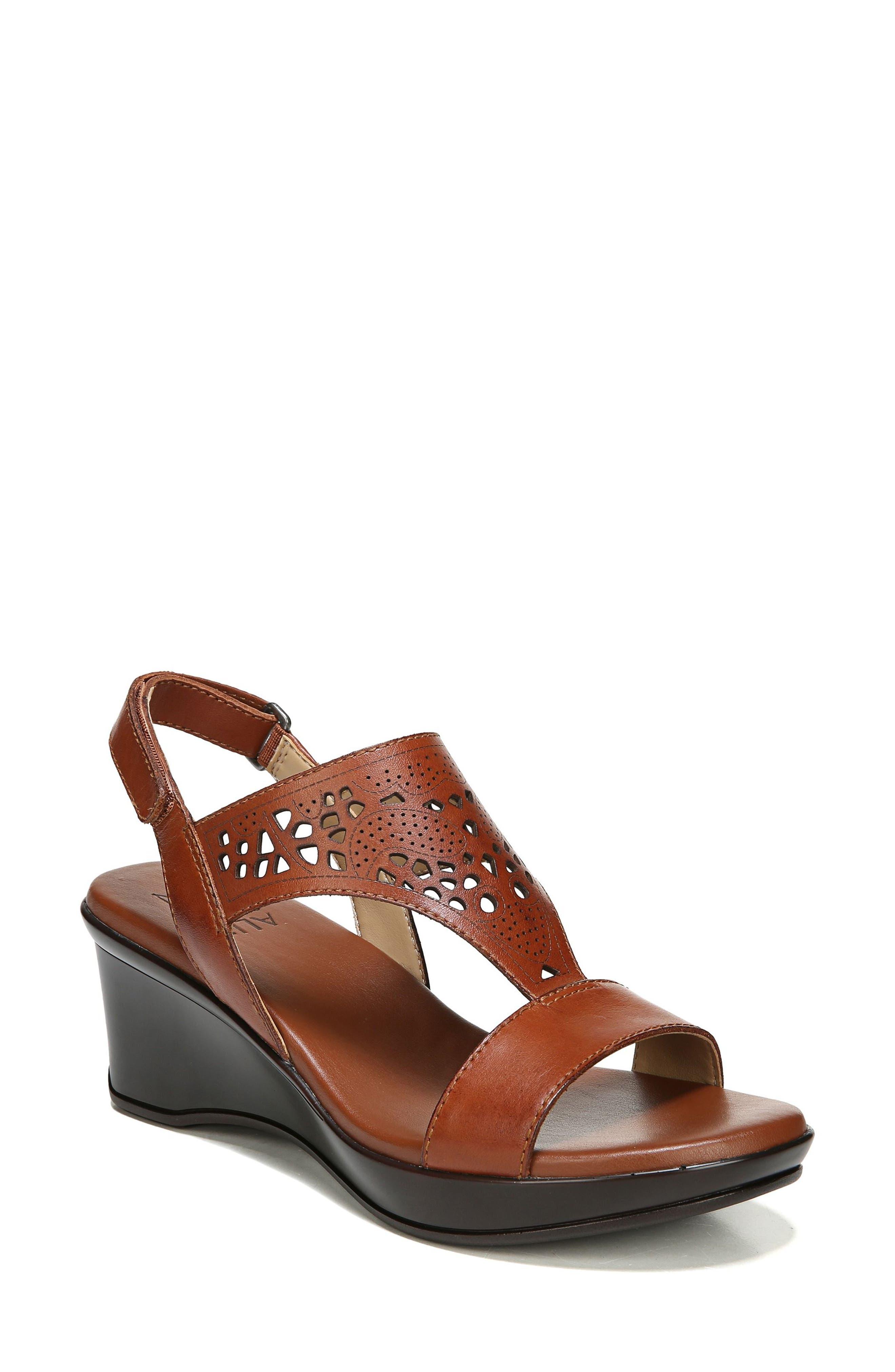 Veda Wedge Sandal,                         Main,                         color, Cognac Leater