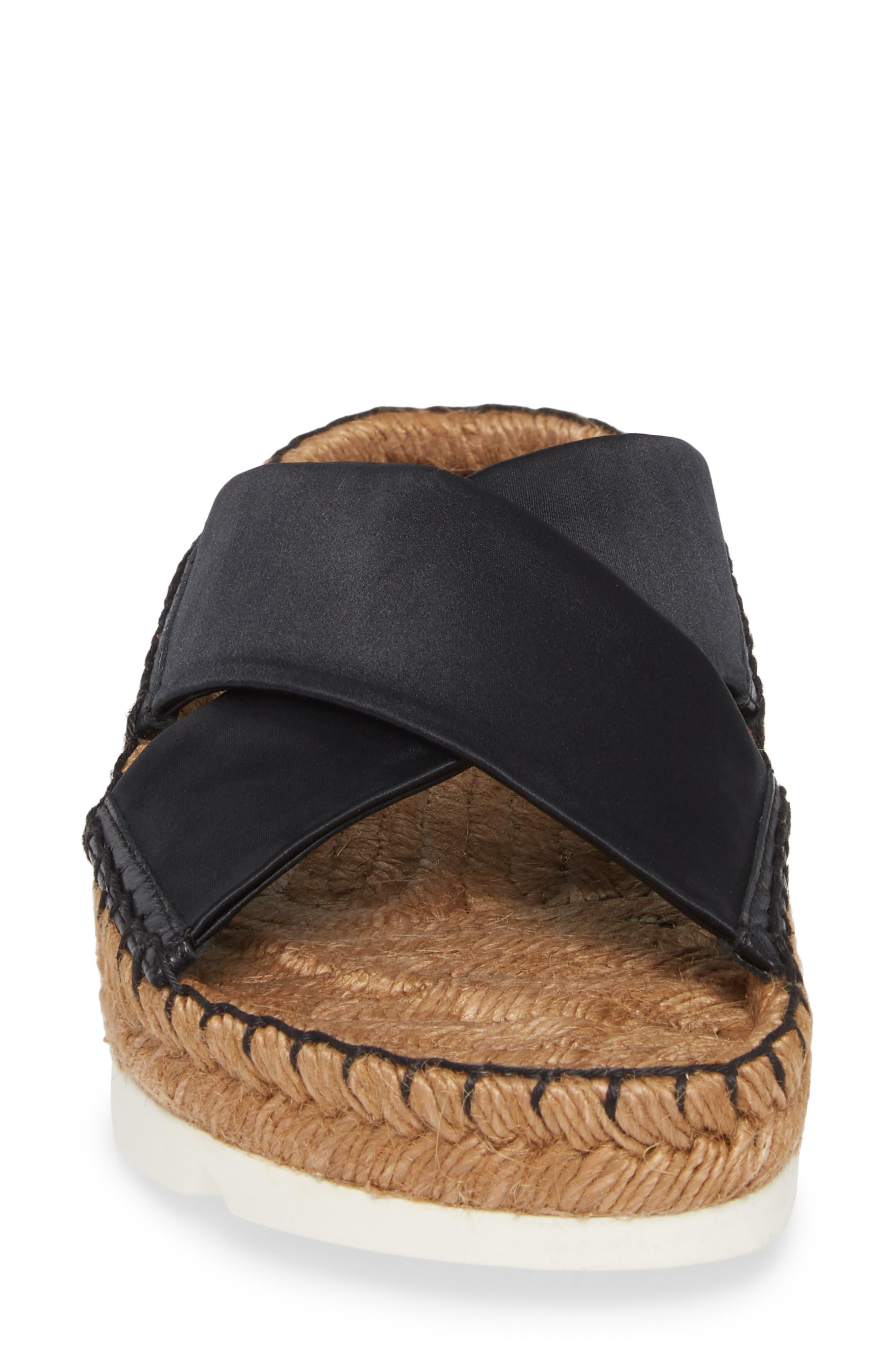 Danae Double Strap Espadrille Slide Sandal,                             Alternate thumbnail 4, color,                             Black