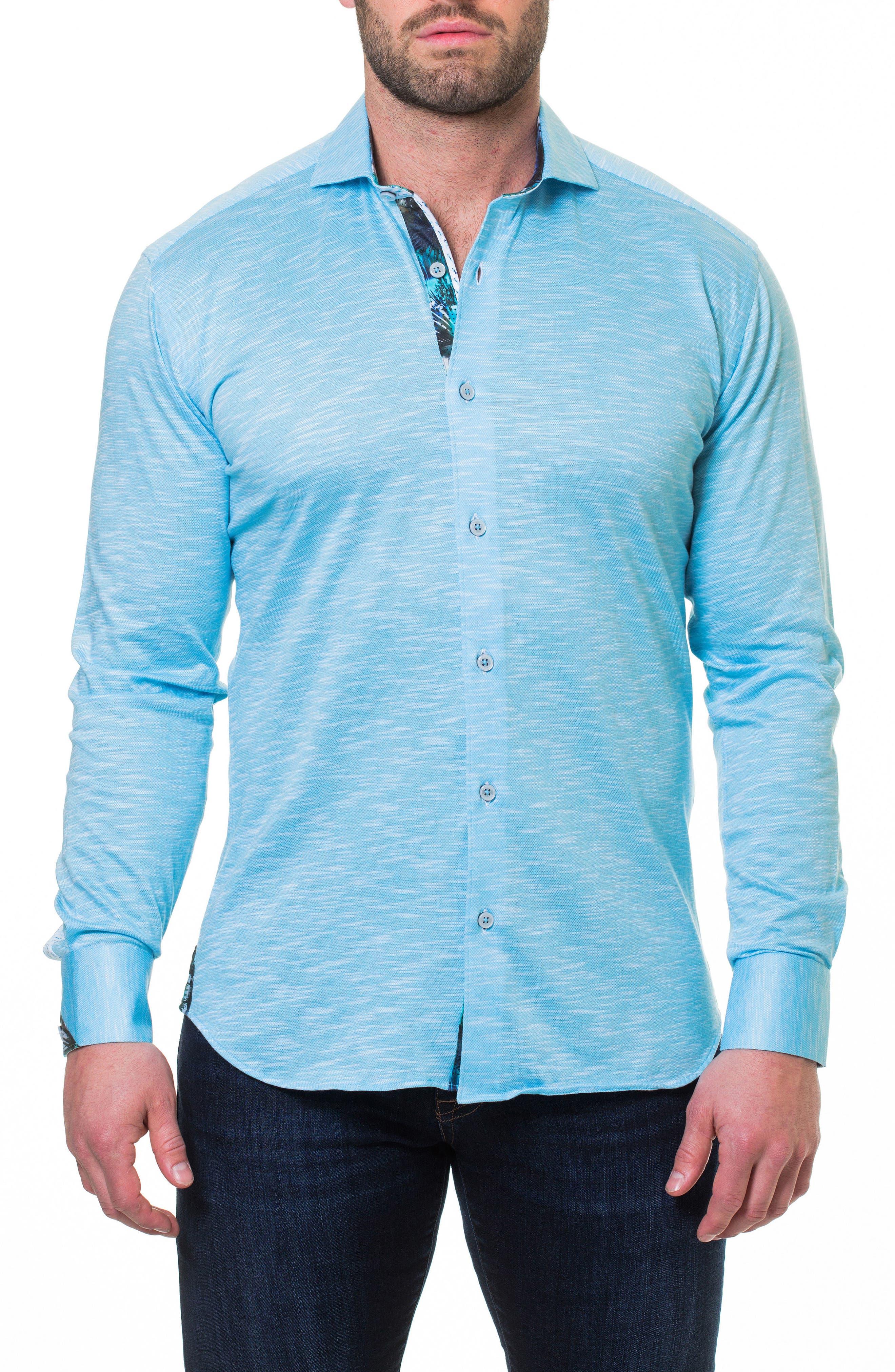Wall Street Slim Fit Slub Piqué Sport Shirt,                             Alternate thumbnail 3, color,                             Blue