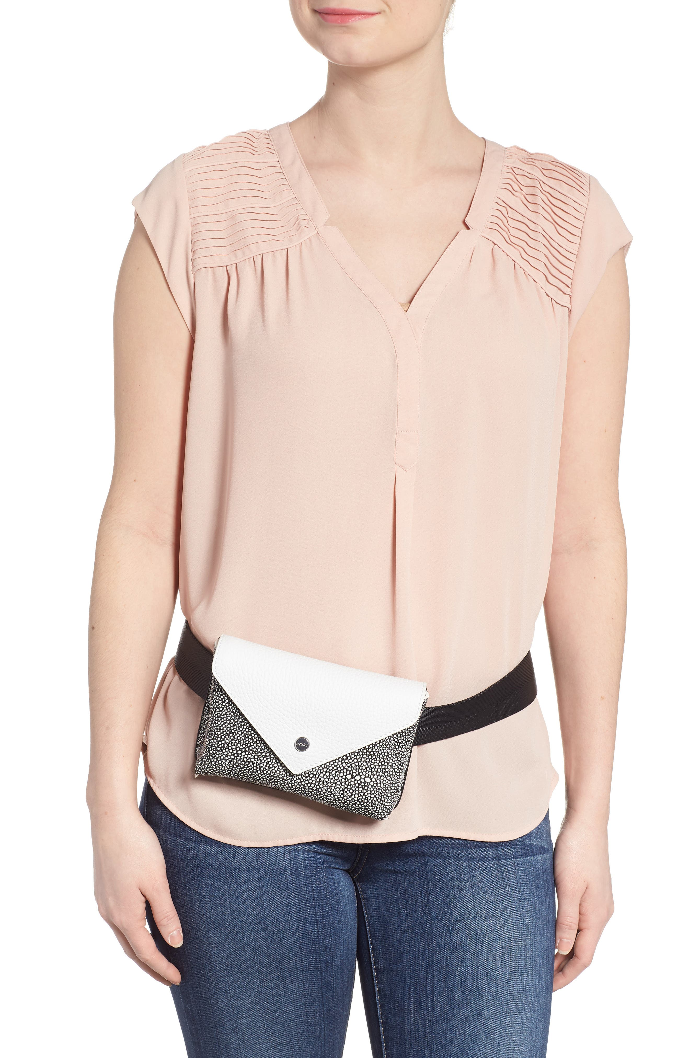 Vivi Calfskin Leather Convertible Belt Bag,                             Alternate thumbnail 4, color,                             Chalk Stingray
