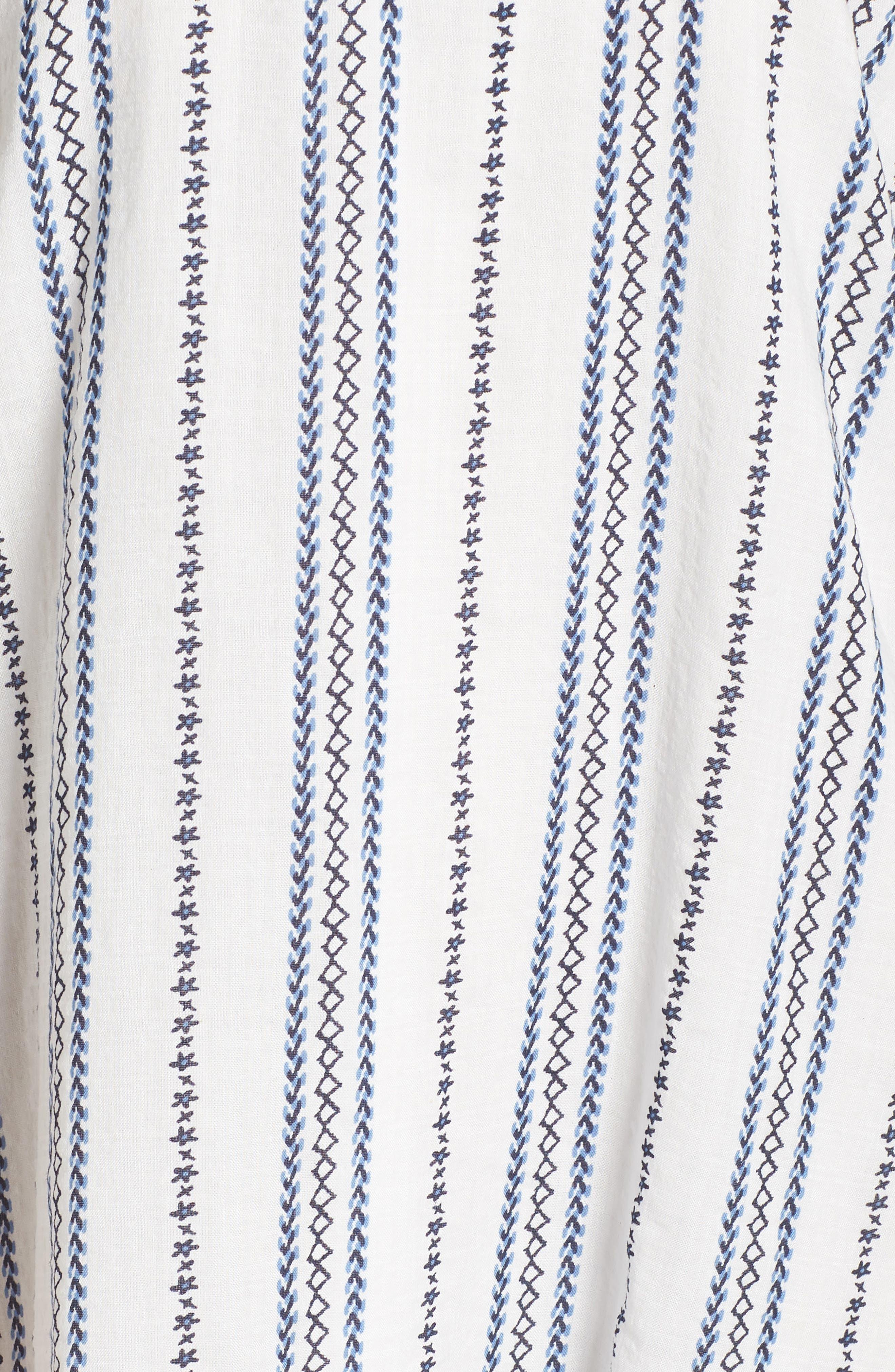Stripe & Embroidery Shift Dress,                             Alternate thumbnail 6, color,                             White