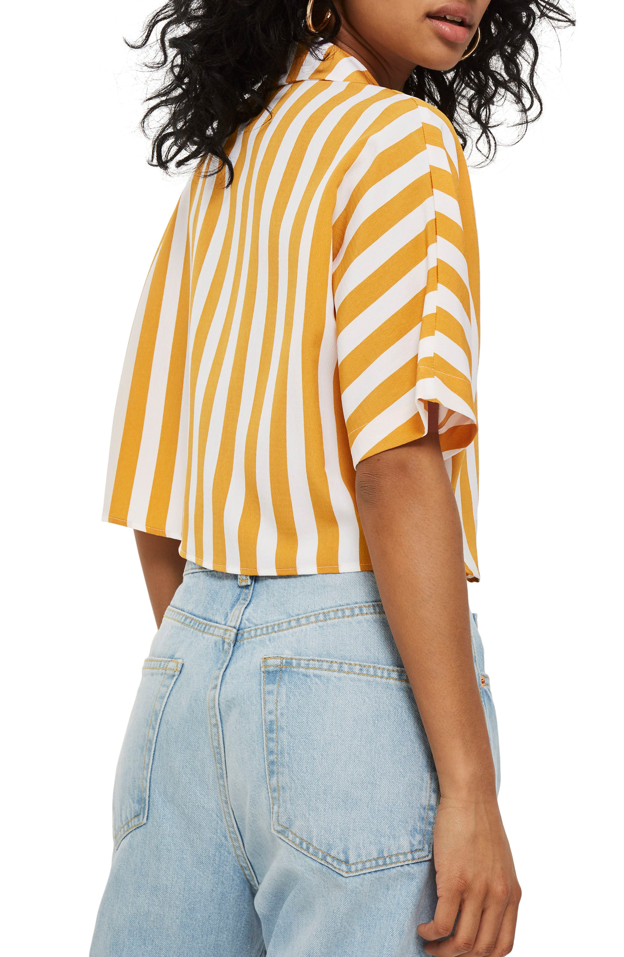 Stripe Tie Front Cropped Collar Shirt,                             Alternate thumbnail 3, color,                             Mustard Multi