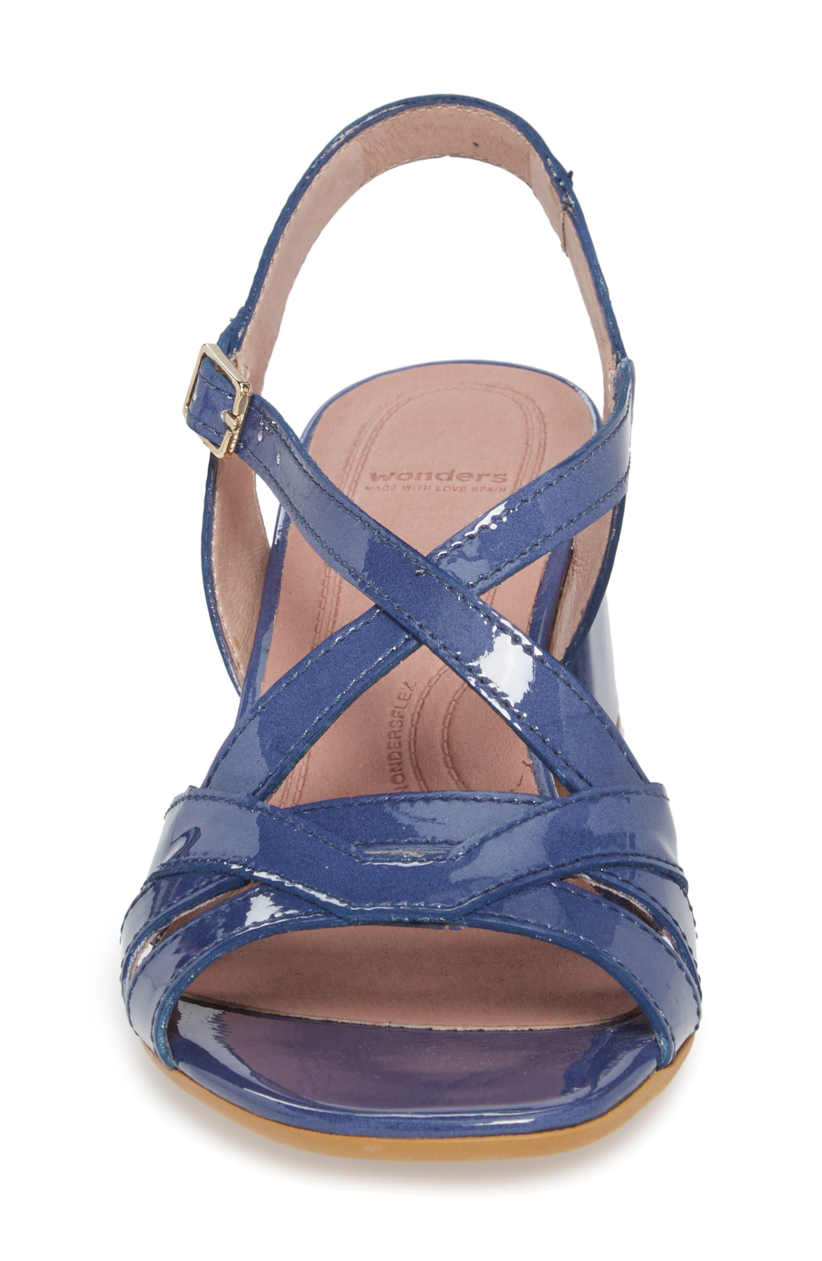 Block Heel Sandal,                             Alternate thumbnail 4, color,                             Jean Patent Leather