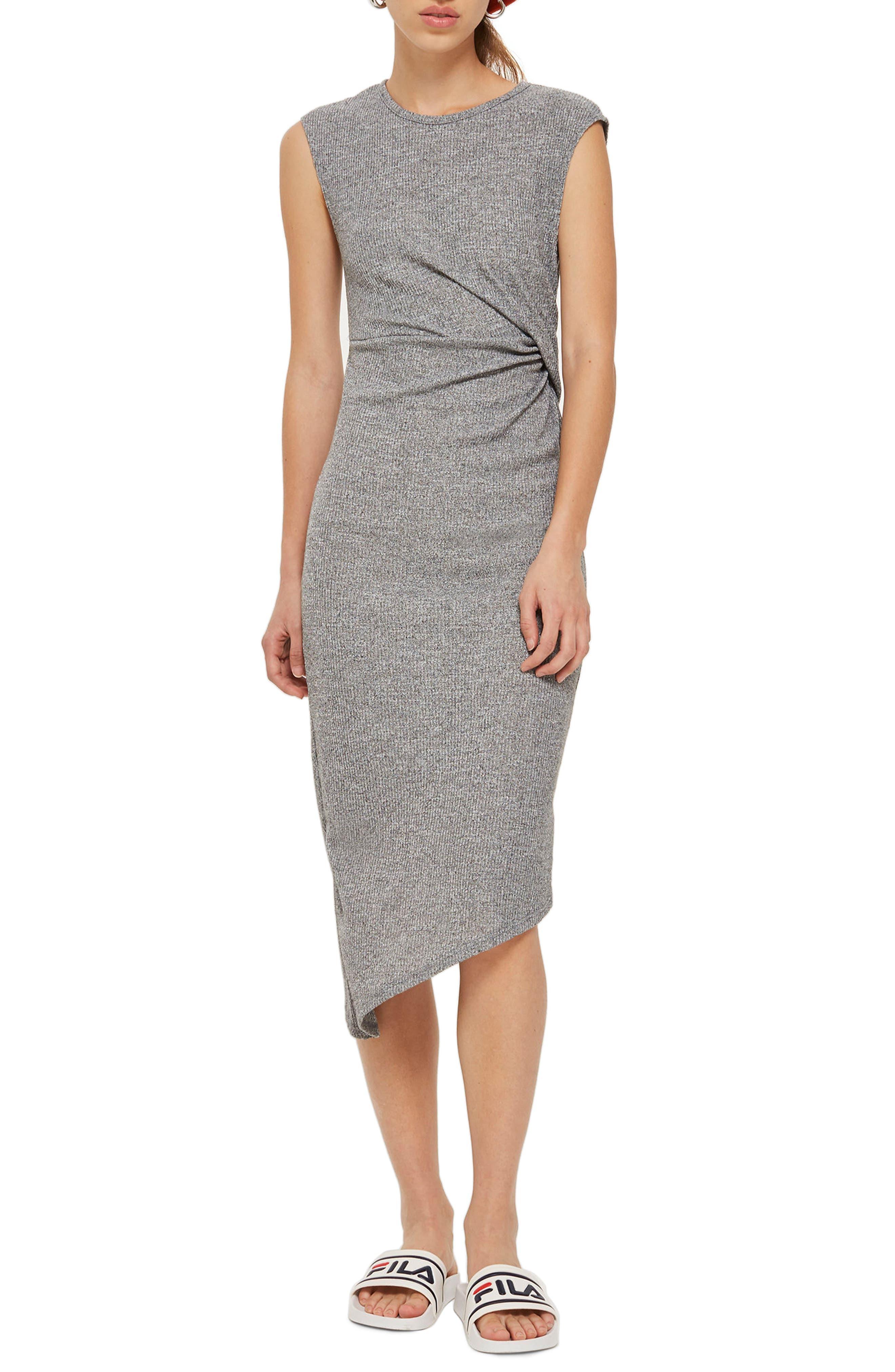 Side Drape Maxi Dress,                         Main,                         color, Grey