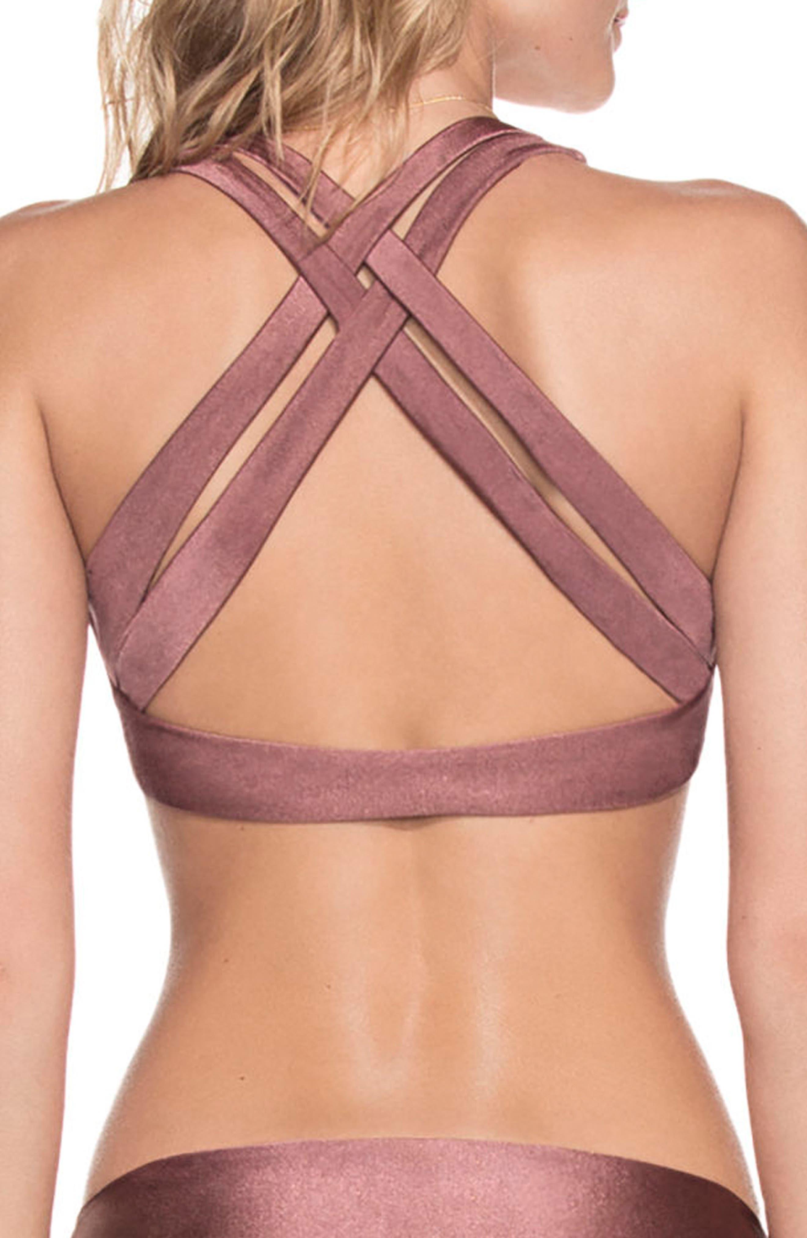 Shimmering Cognac Reversible Bikini Top,                             Alternate thumbnail 4, color,                             Cognac