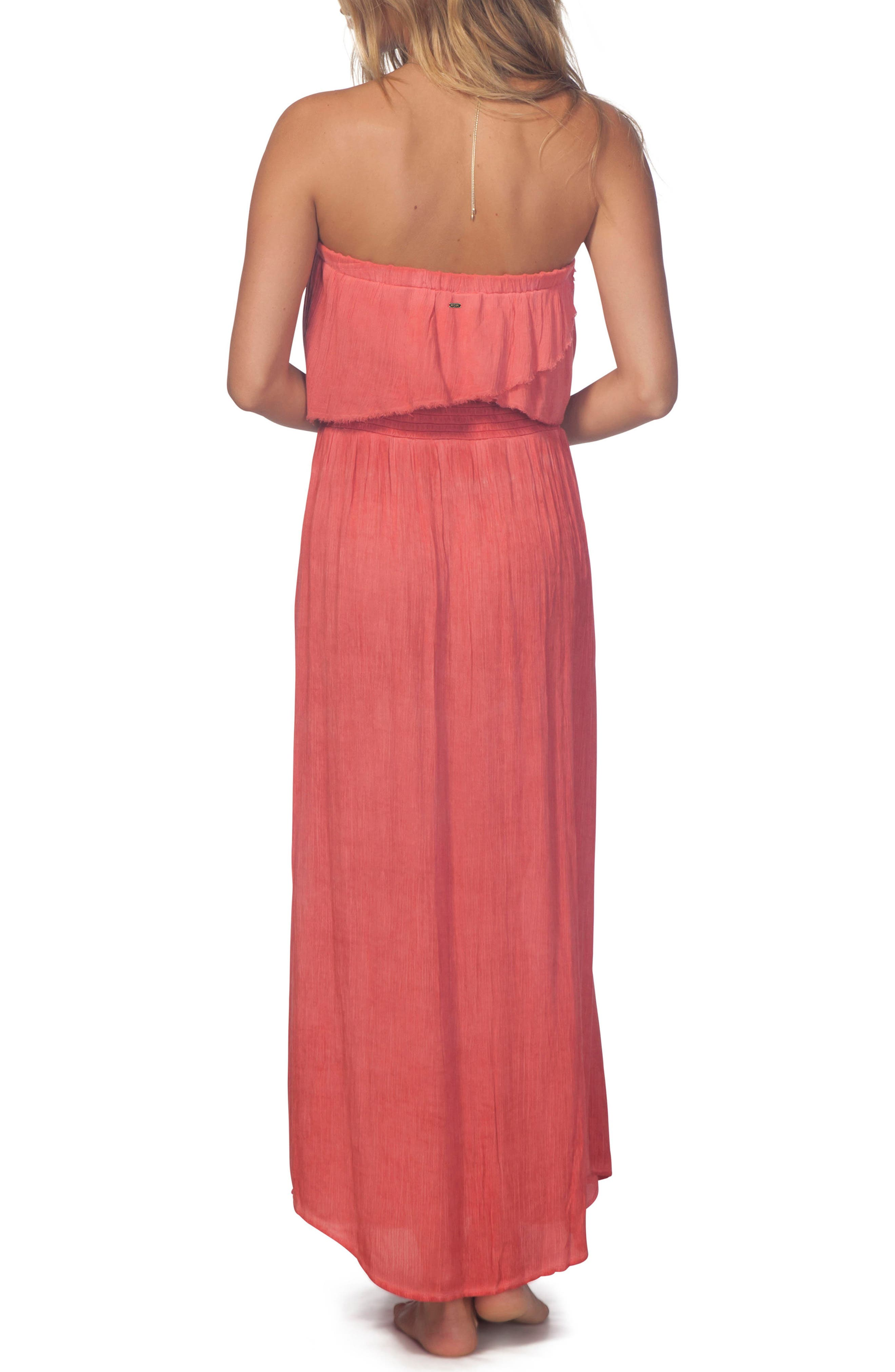 Beach Babe Popover Strapless Maxi Dress,                             Alternate thumbnail 3, color,                             Red