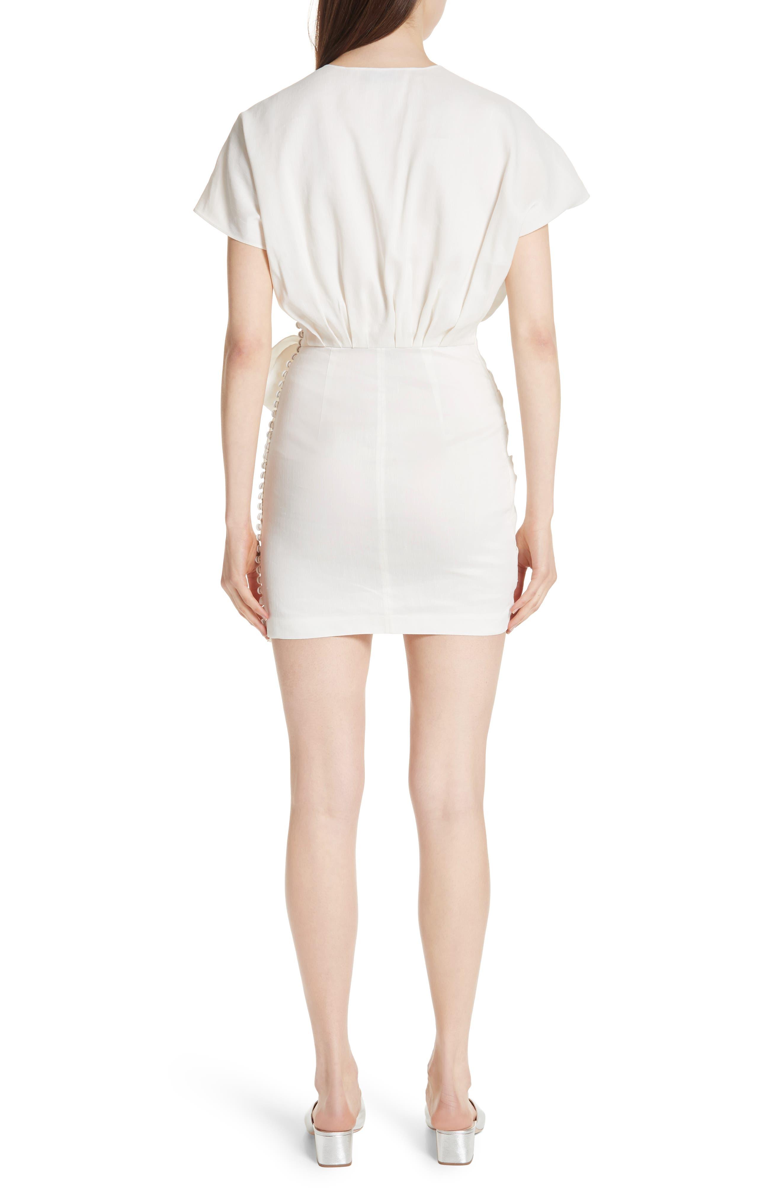 Gathered Linen Blend Dress,                             Alternate thumbnail 2, color,                             White