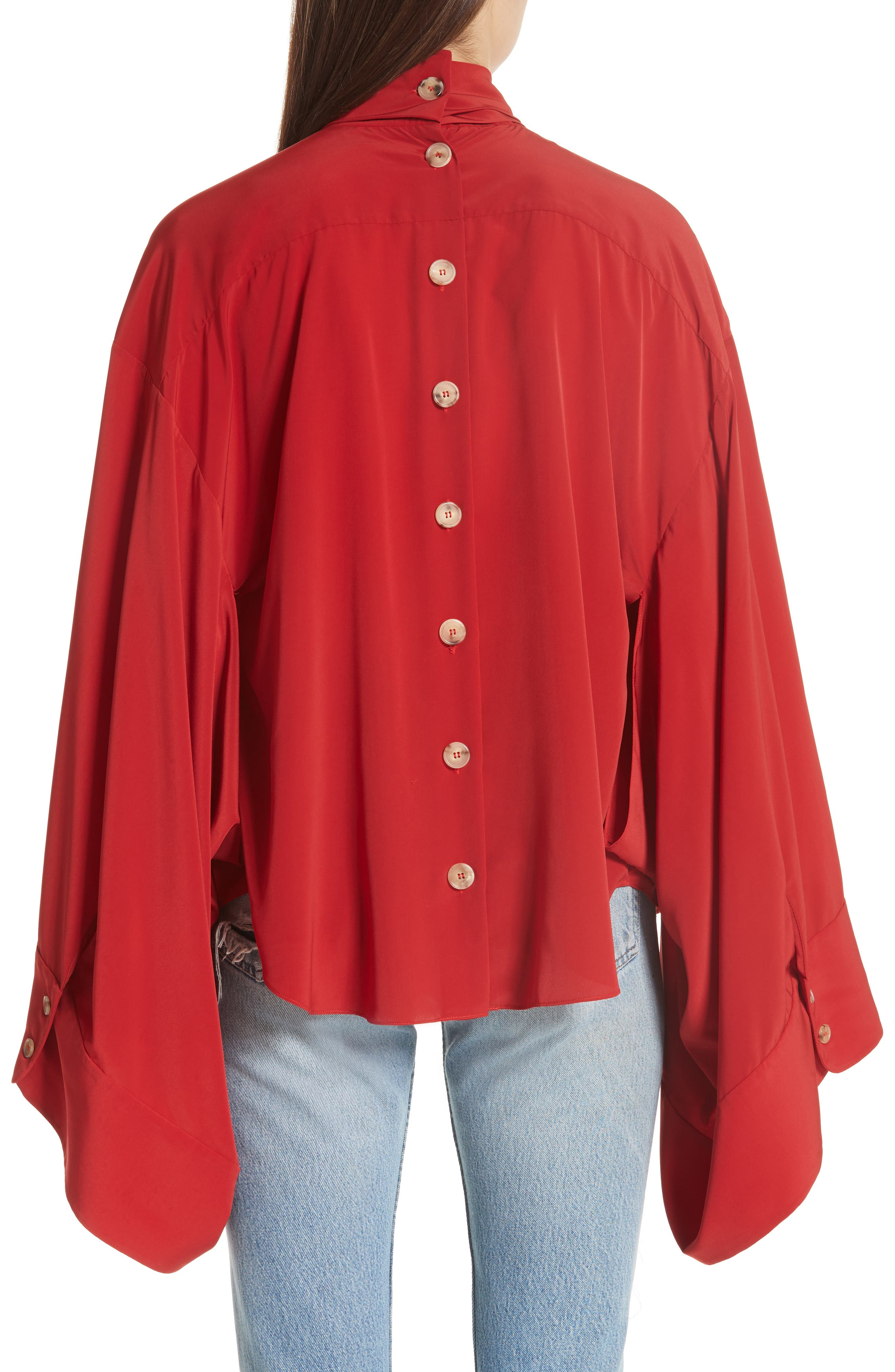 Kimono Sleeve Blouse,                             Alternate thumbnail 2, color,                             Red
