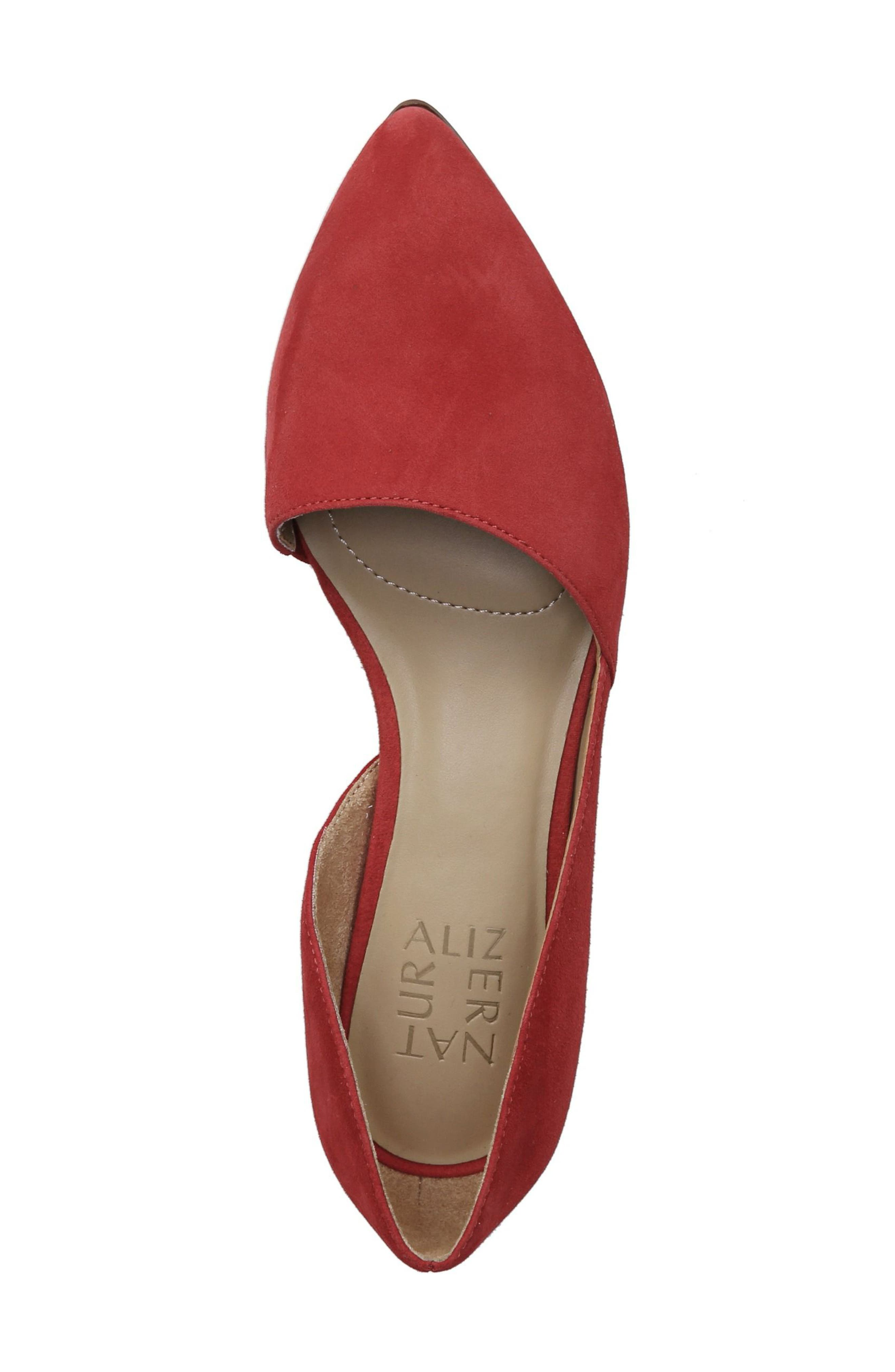 Samantha Half d'Orsay Flat,                             Alternate thumbnail 4, color,                             Hot Sauce Suede