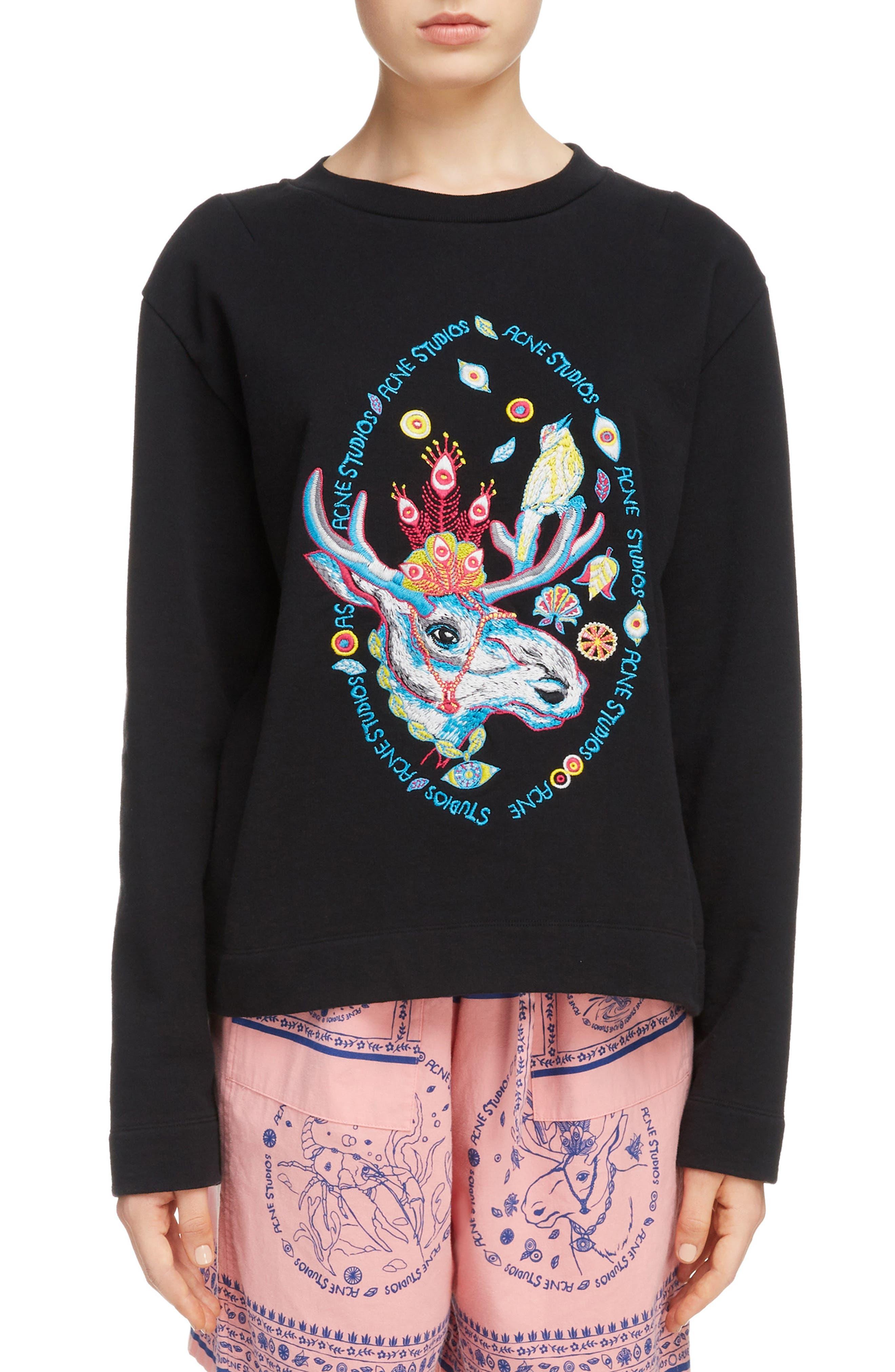 Oslavi Embroidered Moose Sweatshirt,                         Main,                         color, Black