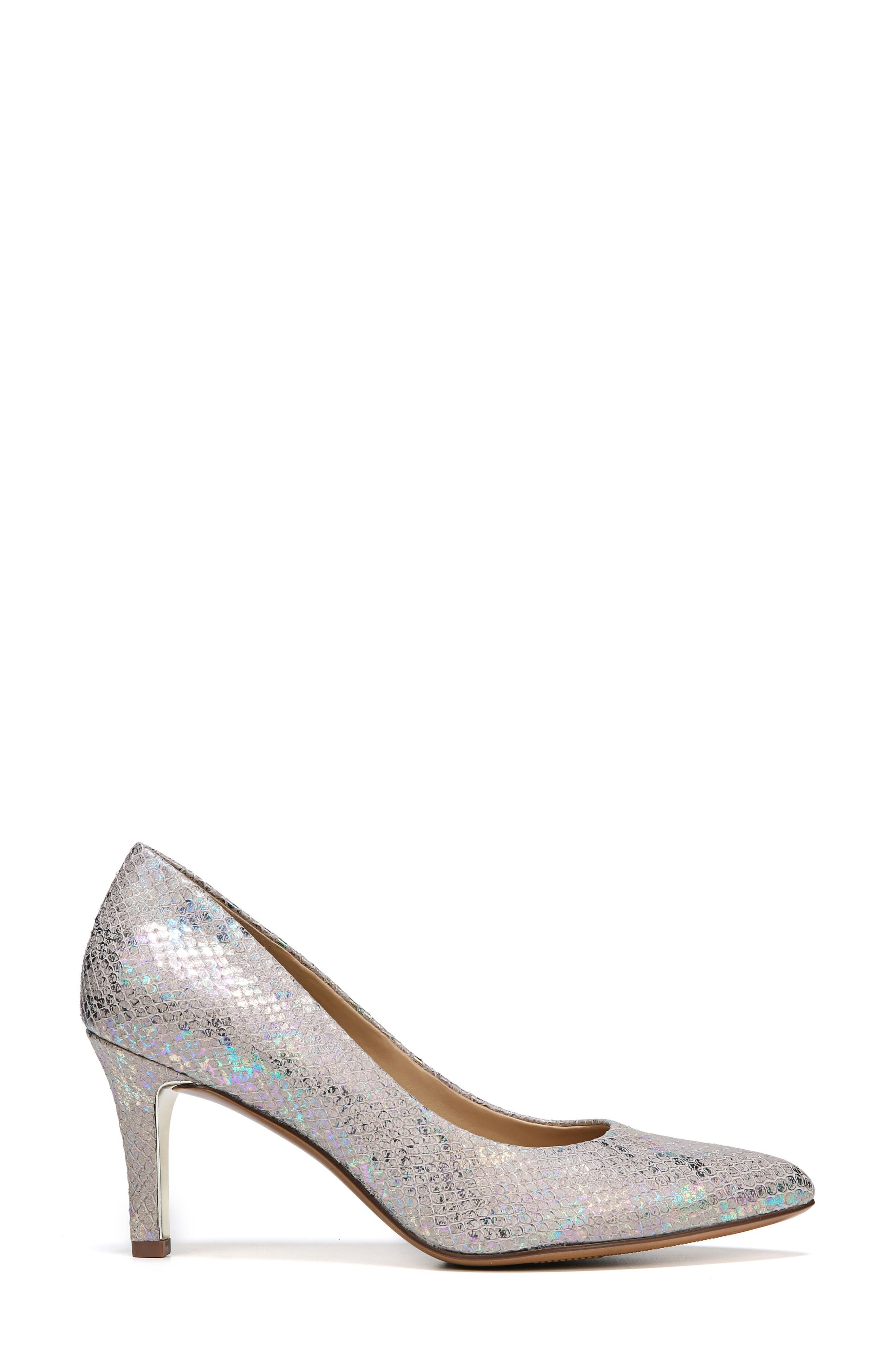Natalie Pointy Toe Pump,                             Alternate thumbnail 3, color,                             Silver Snake Print Leather