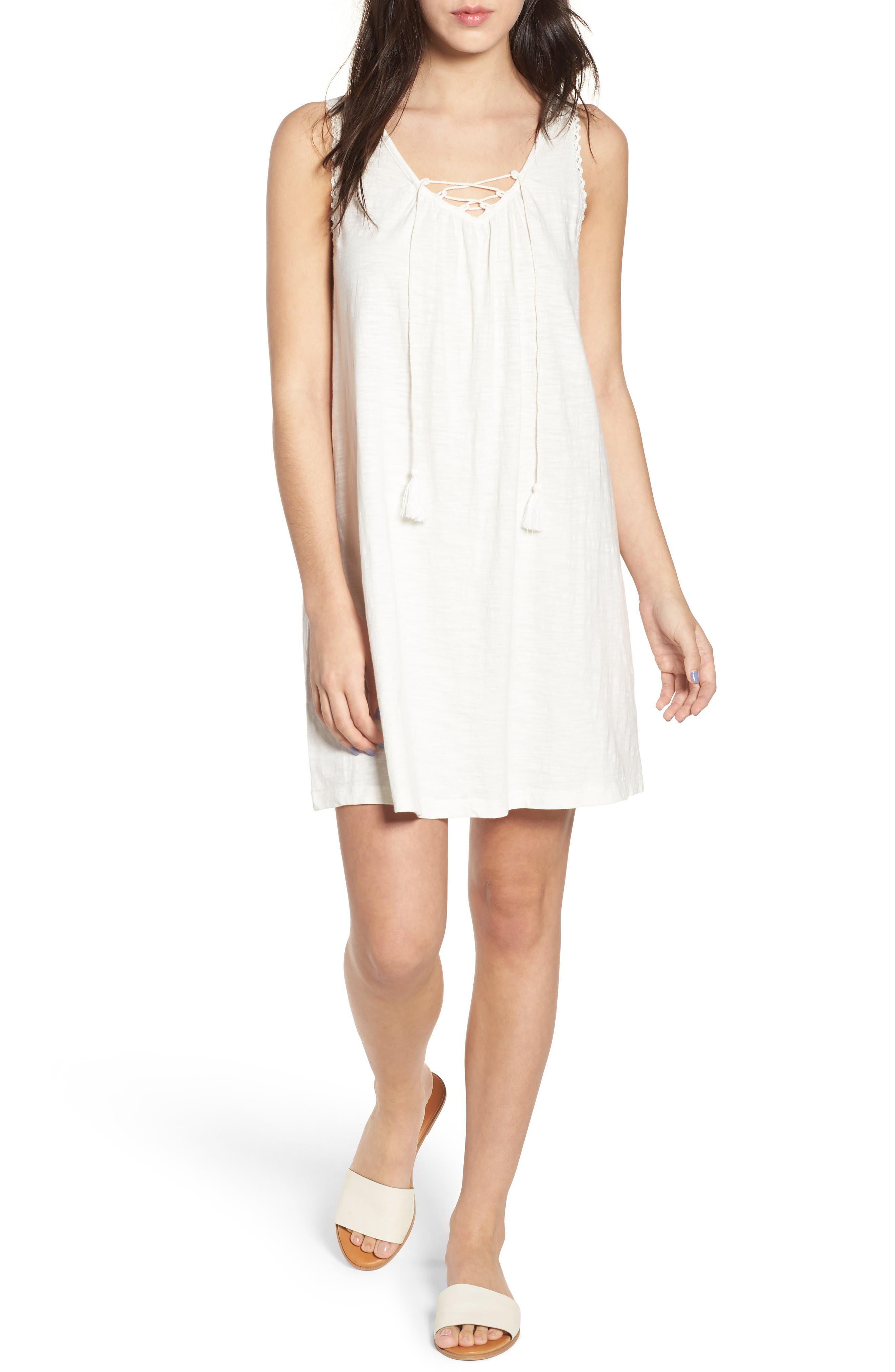 Aguila Lace Up Dress,                         Main,                         color, Marshmallow
