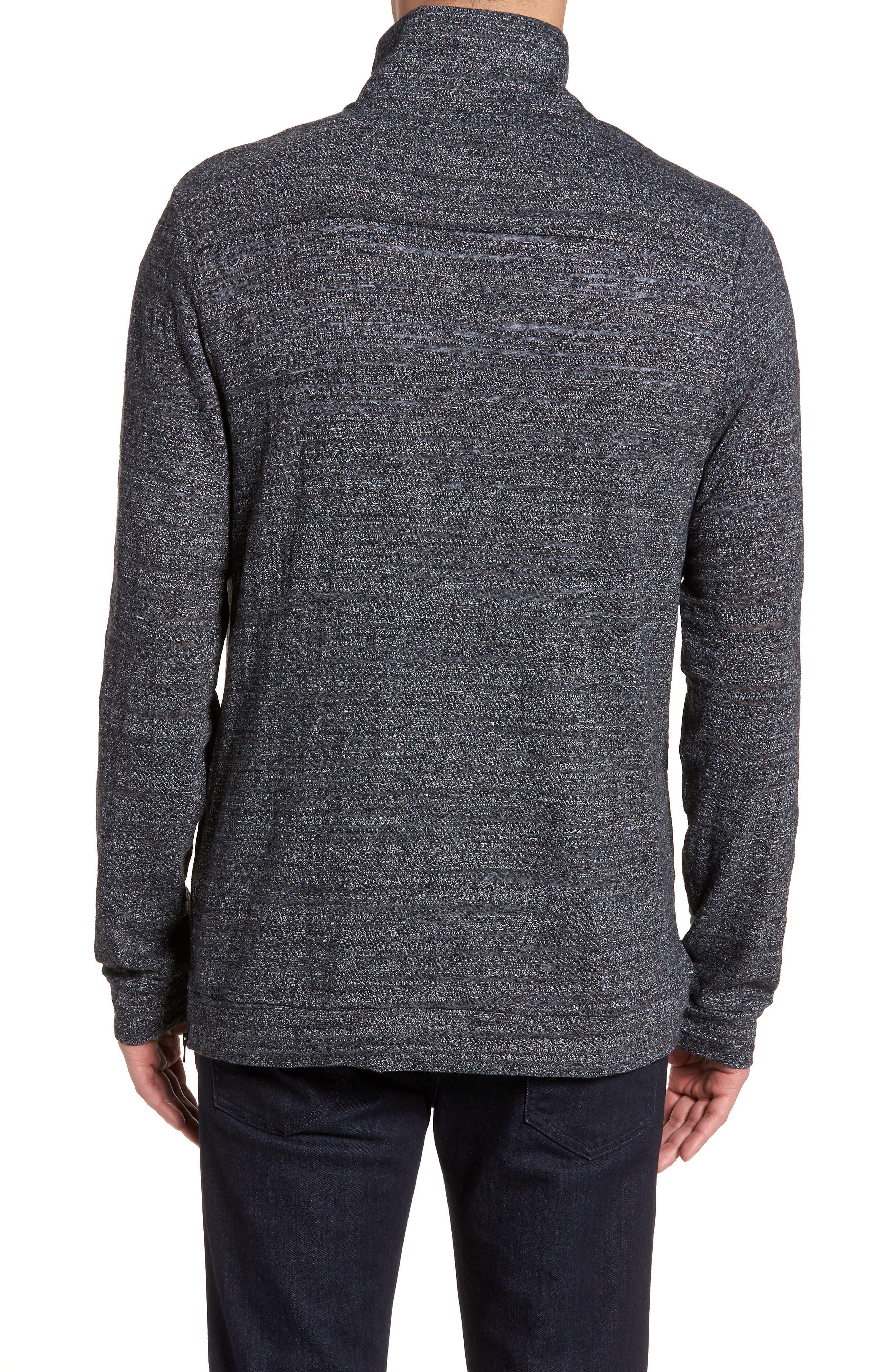 Textured Zip Fleece Sweatshirt,                             Alternate thumbnail 2, color,                             Black Melange
